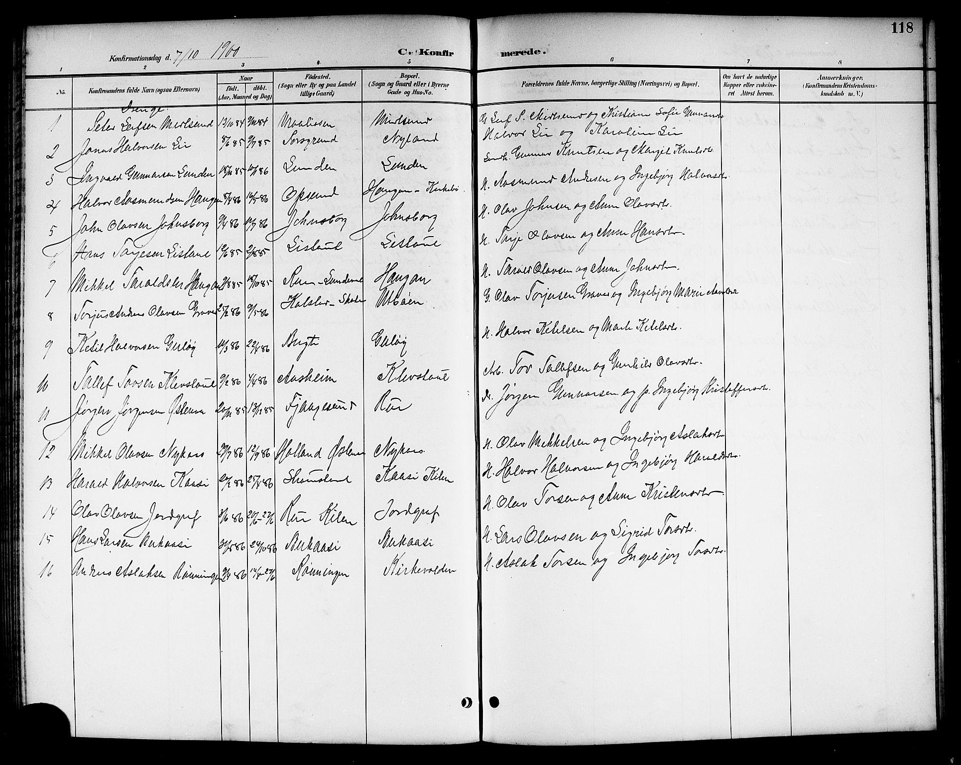 SAKO, Kviteseid kirkebøker, G/Ga/L0002: Klokkerbok nr. I 2, 1893-1918, s. 118
