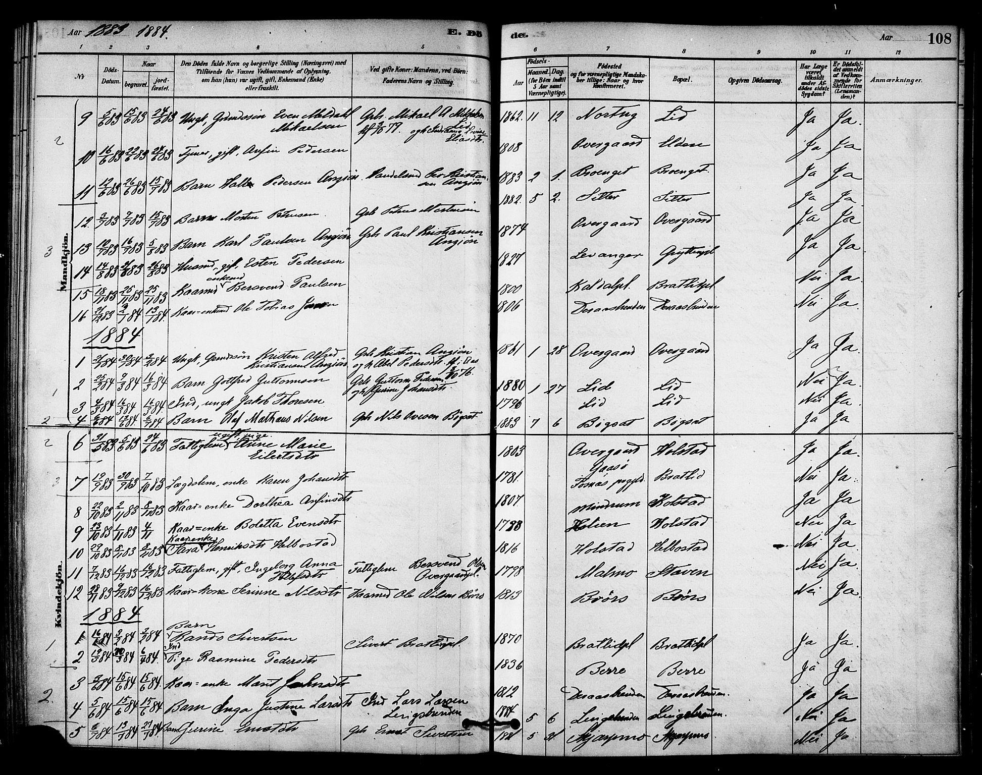 SAT, Ministerialprotokoller, klokkerbøker og fødselsregistre - Nord-Trøndelag, 742/L0408: Ministerialbok nr. 742A01, 1878-1890, s. 108