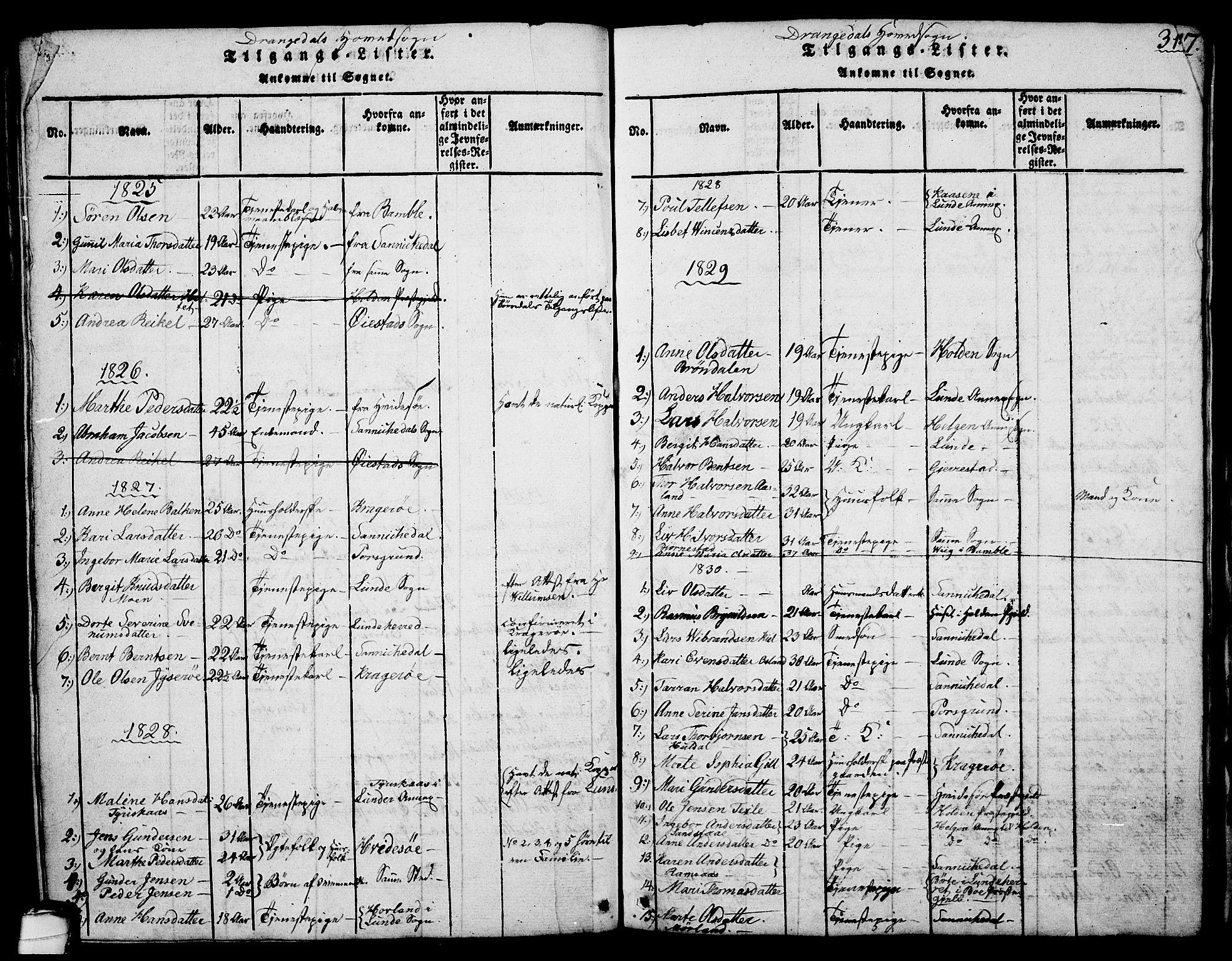 SAKO, Drangedal kirkebøker, G/Ga/L0001: Klokkerbok nr. I 1 /1, 1814-1856, s. 314