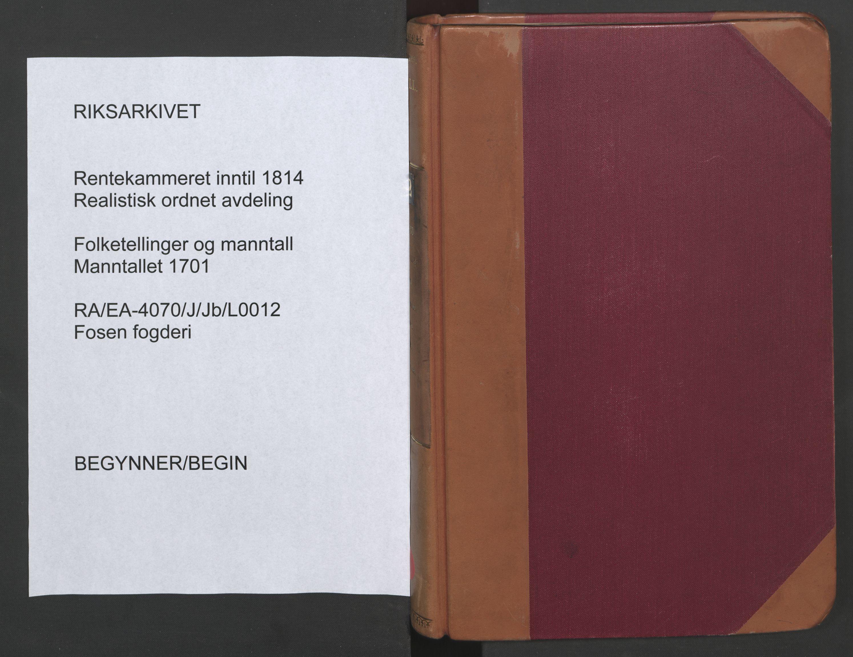 RA, Manntallet 1701, nr. 12: Fosen fogderi, 1701