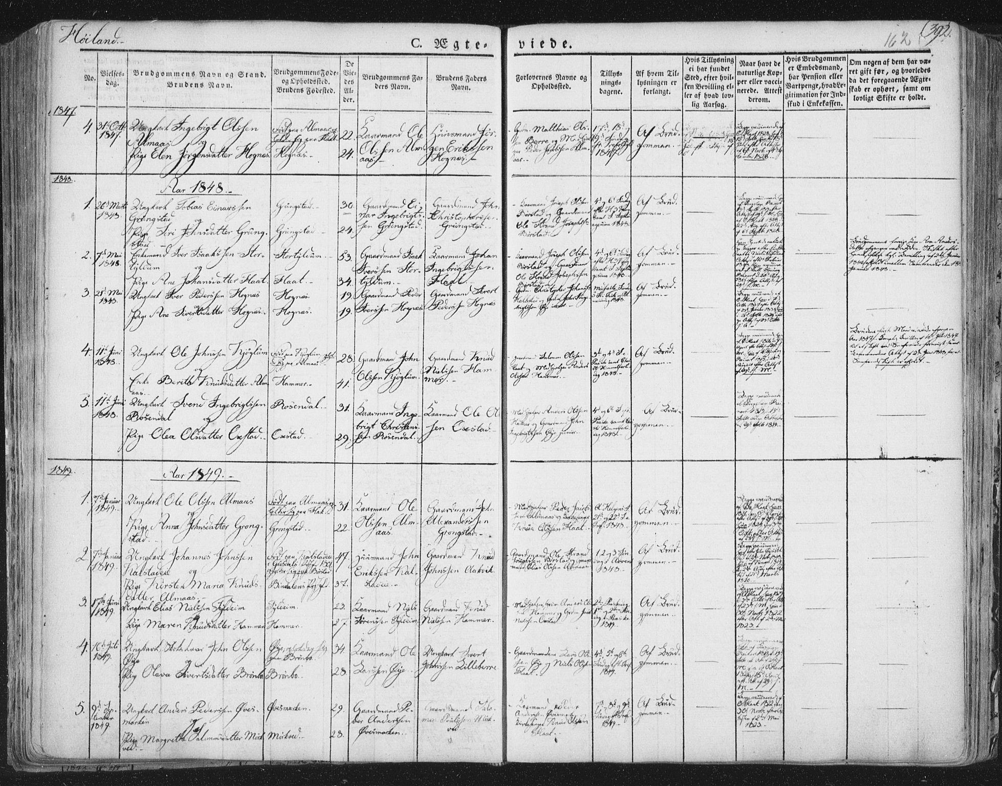 SAT, Ministerialprotokoller, klokkerbøker og fødselsregistre - Nord-Trøndelag, 758/L0513: Ministerialbok nr. 758A02 /2, 1839-1868, s. 162