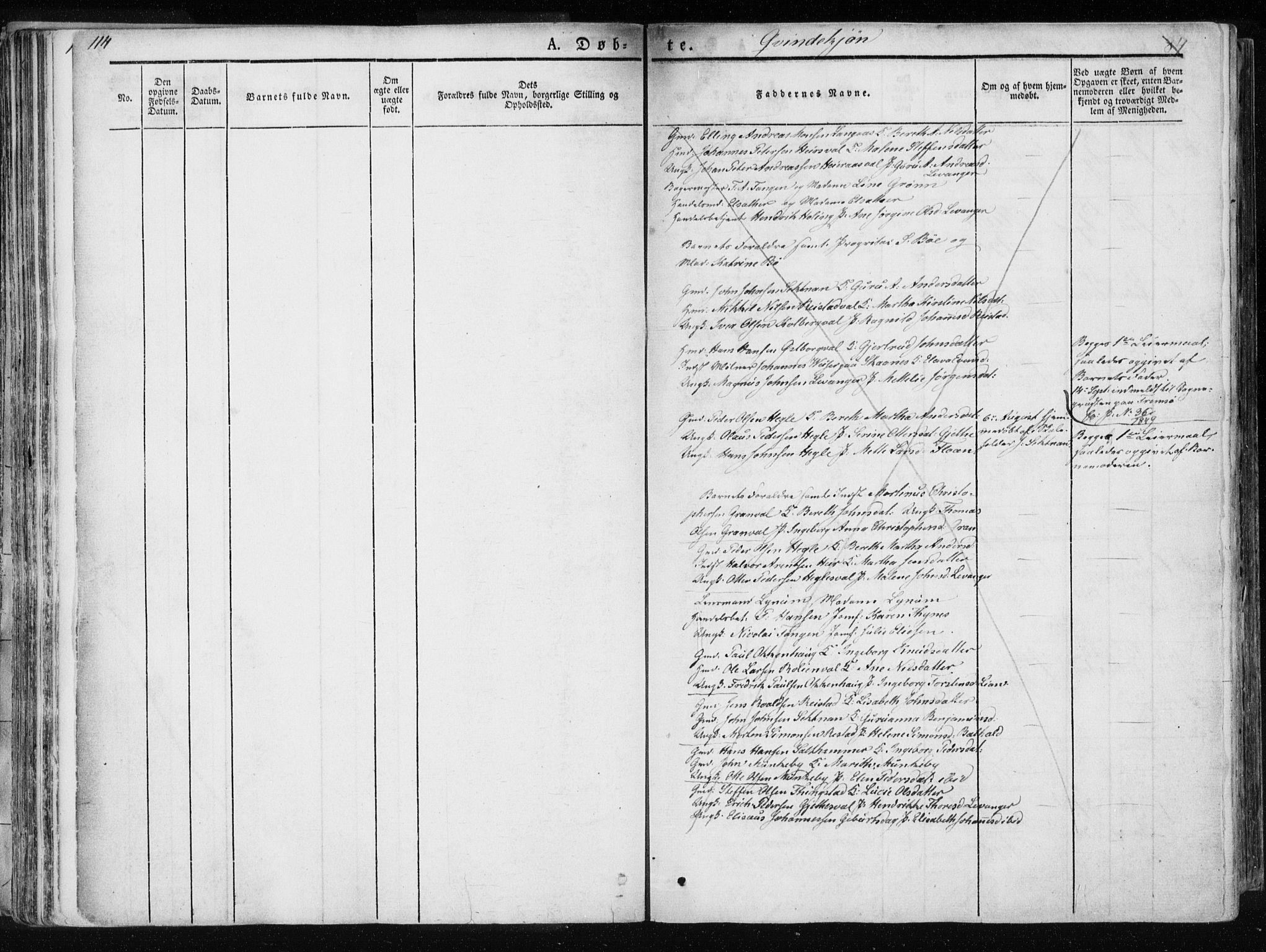 SAT, Ministerialprotokoller, klokkerbøker og fødselsregistre - Nord-Trøndelag, 717/L0154: Ministerialbok nr. 717A06 /1, 1836-1849, s. 114