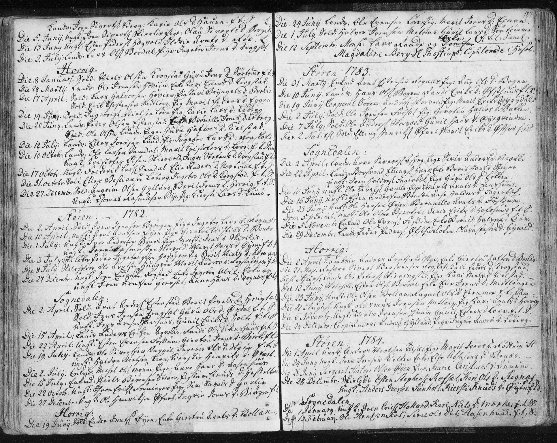 SAT, Ministerialprotokoller, klokkerbøker og fødselsregistre - Sør-Trøndelag, 687/L0991: Ministerialbok nr. 687A02, 1747-1790, s. 187