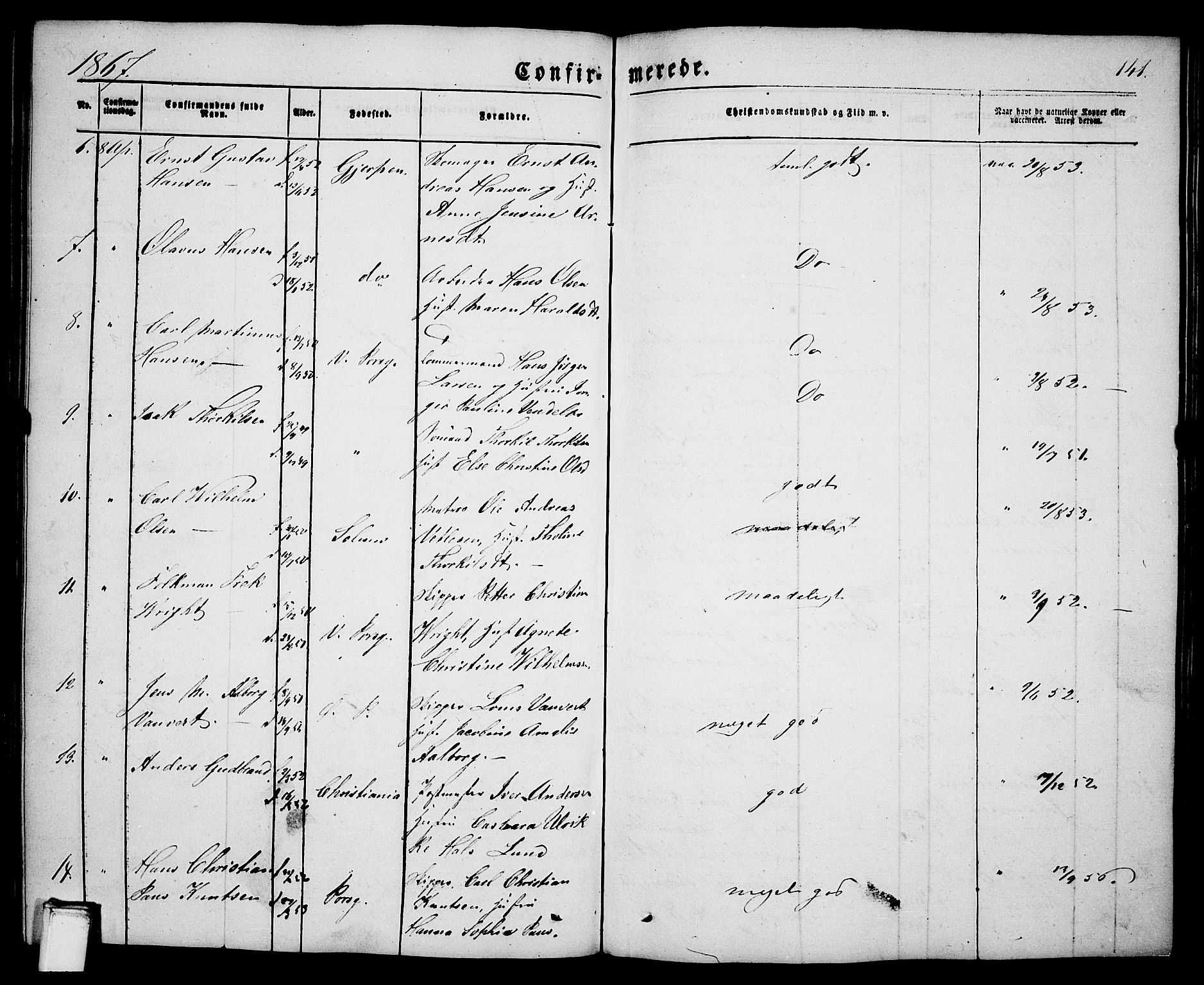 SAKO, Porsgrunn kirkebøker , G/Ga/L0002: Klokkerbok nr. I 2, 1847-1877, s. 141