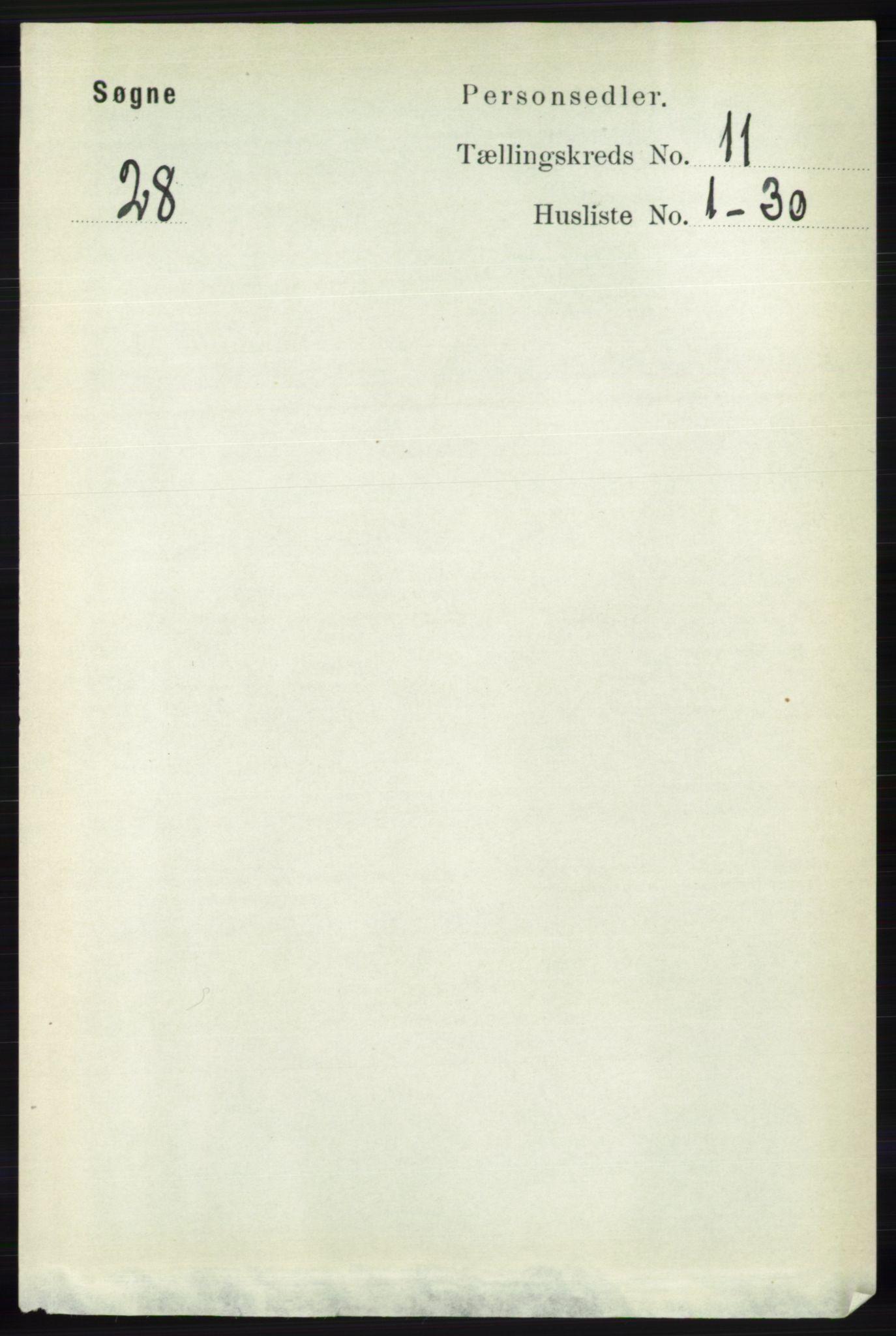RA, Folketelling 1891 for 1018 Søgne herred, 1891, s. 2921