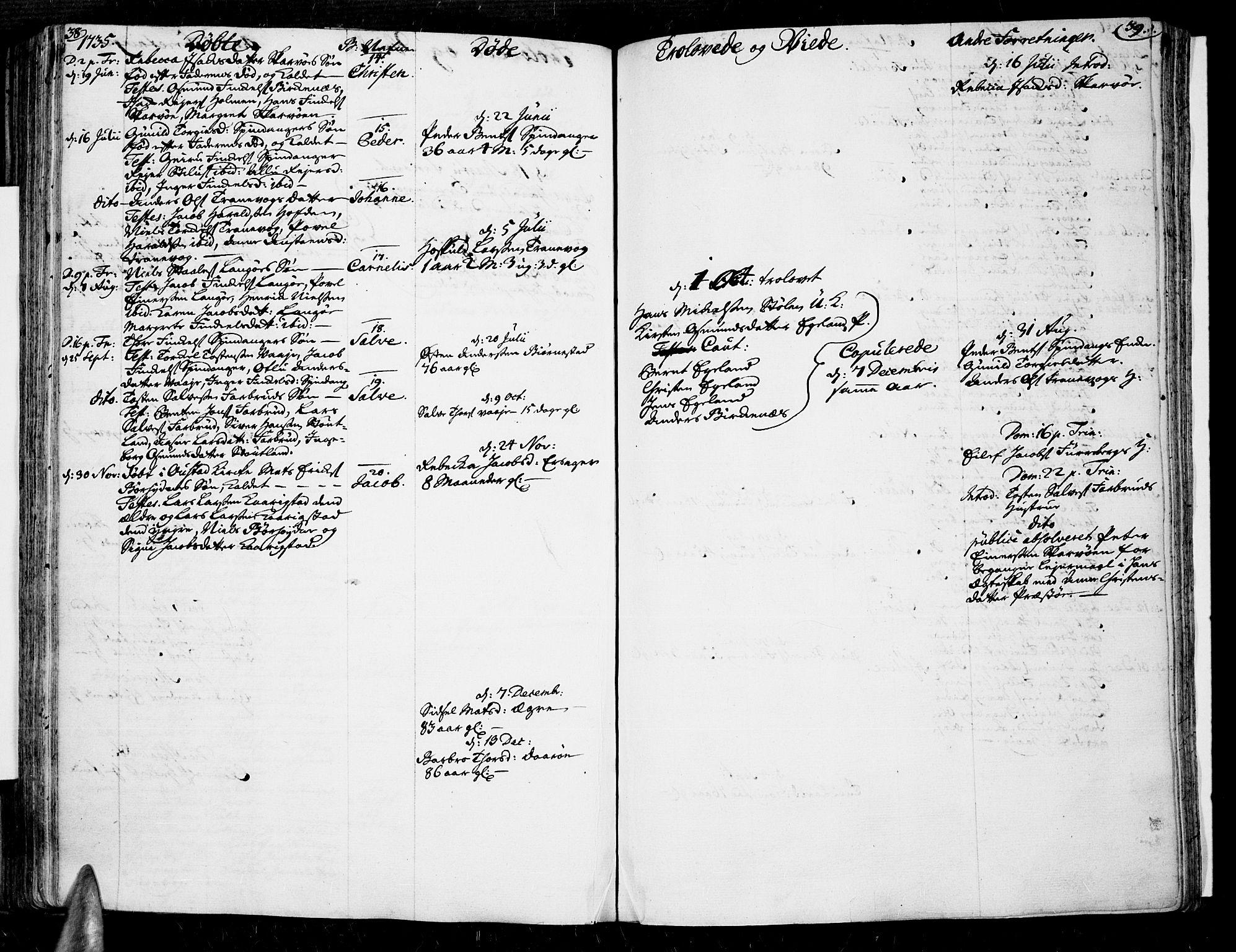 SAK, Lista sokneprestkontor, F/Fa/L0002: Ministerialbok nr. A 2 /3, 1726-1751, s. 38-39