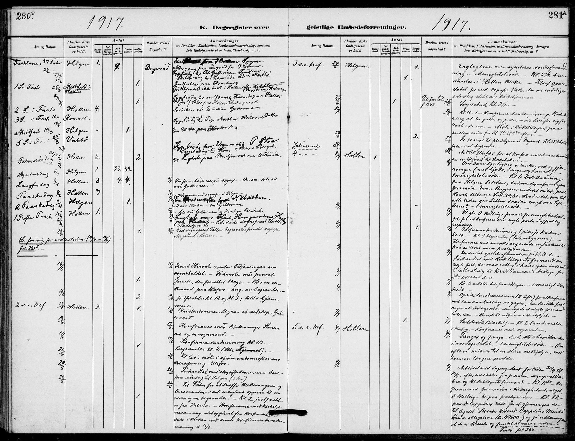 SAKO, Holla kirkebøker, F/Fa/L0012: Ministerialbok nr. 12, 1907-1923, s. 281
