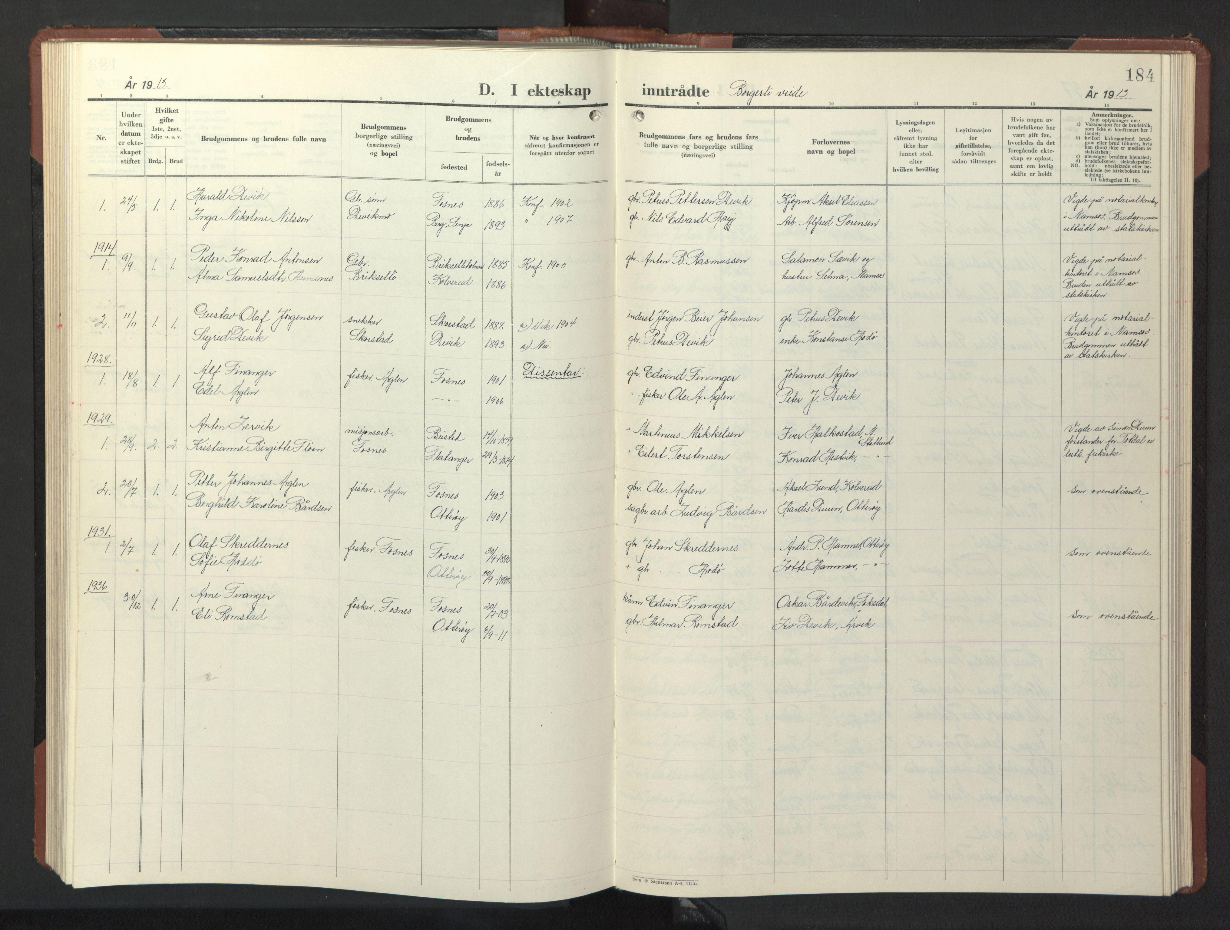SAT, Ministerialprotokoller, klokkerbøker og fødselsregistre - Nord-Trøndelag, 773/L0625: Klokkerbok nr. 773C01, 1910-1952, s. 184