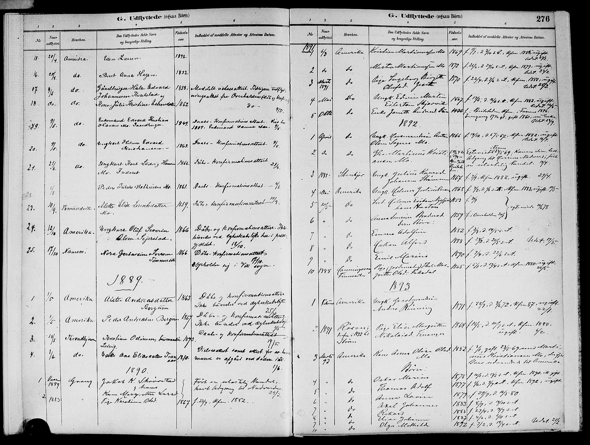SAT, Ministerialprotokoller, klokkerbøker og fødselsregistre - Nord-Trøndelag, 773/L0617: Ministerialbok nr. 773A08, 1887-1910, s. 276