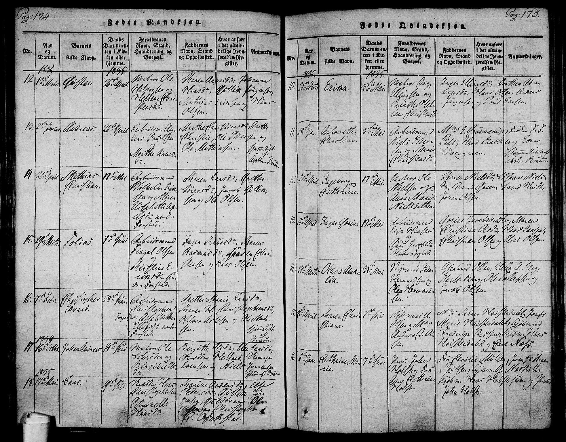 SAKO, Holmestrand kirkebøker, F/Fa/L0001: Ministerialbok nr. 1, 1814-1840, s. 174-175