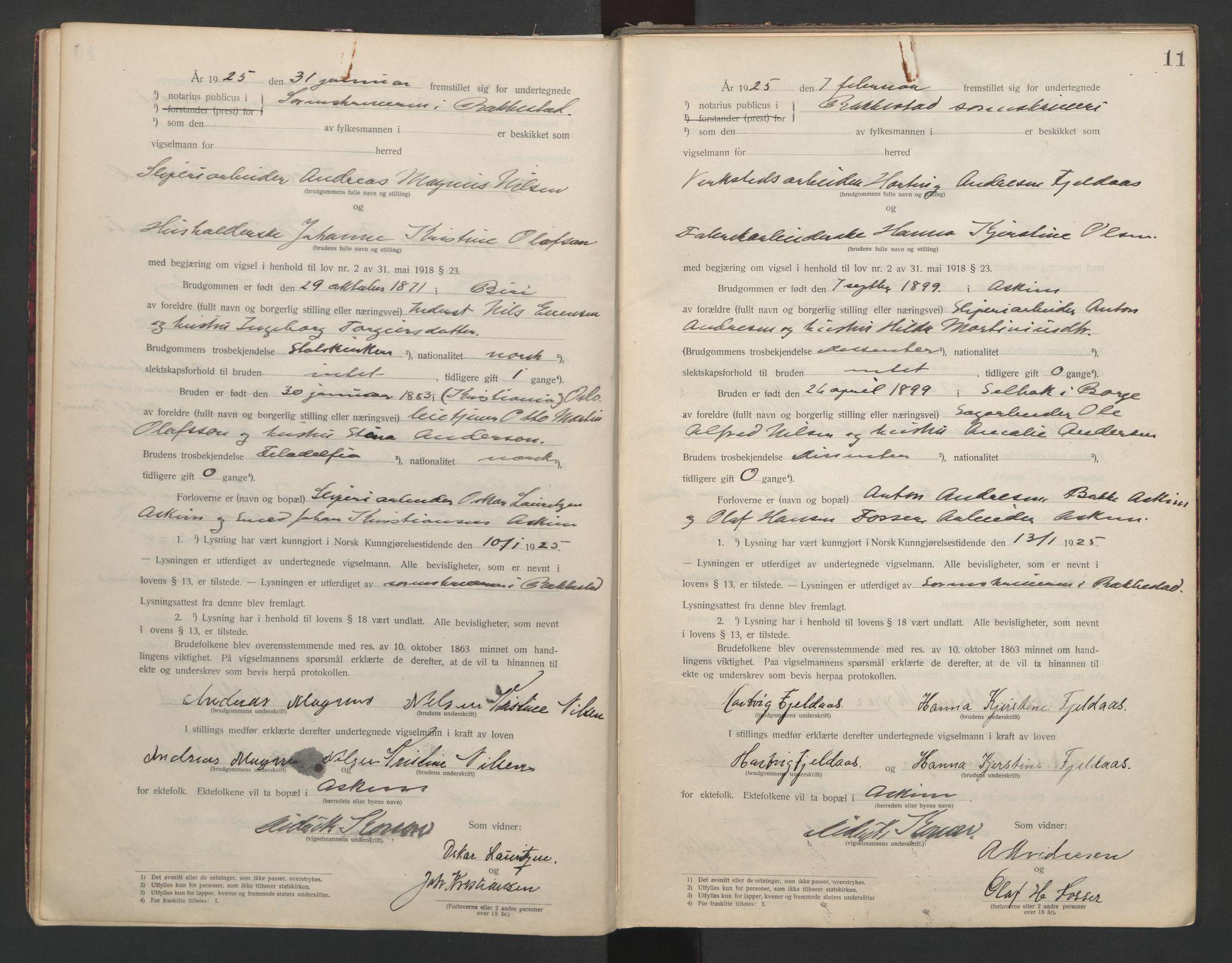 SAO, Rakkestad sorenskriveri, L/Lc/Lca/L0001: Vigselbøker, 1920-1942, s. 11