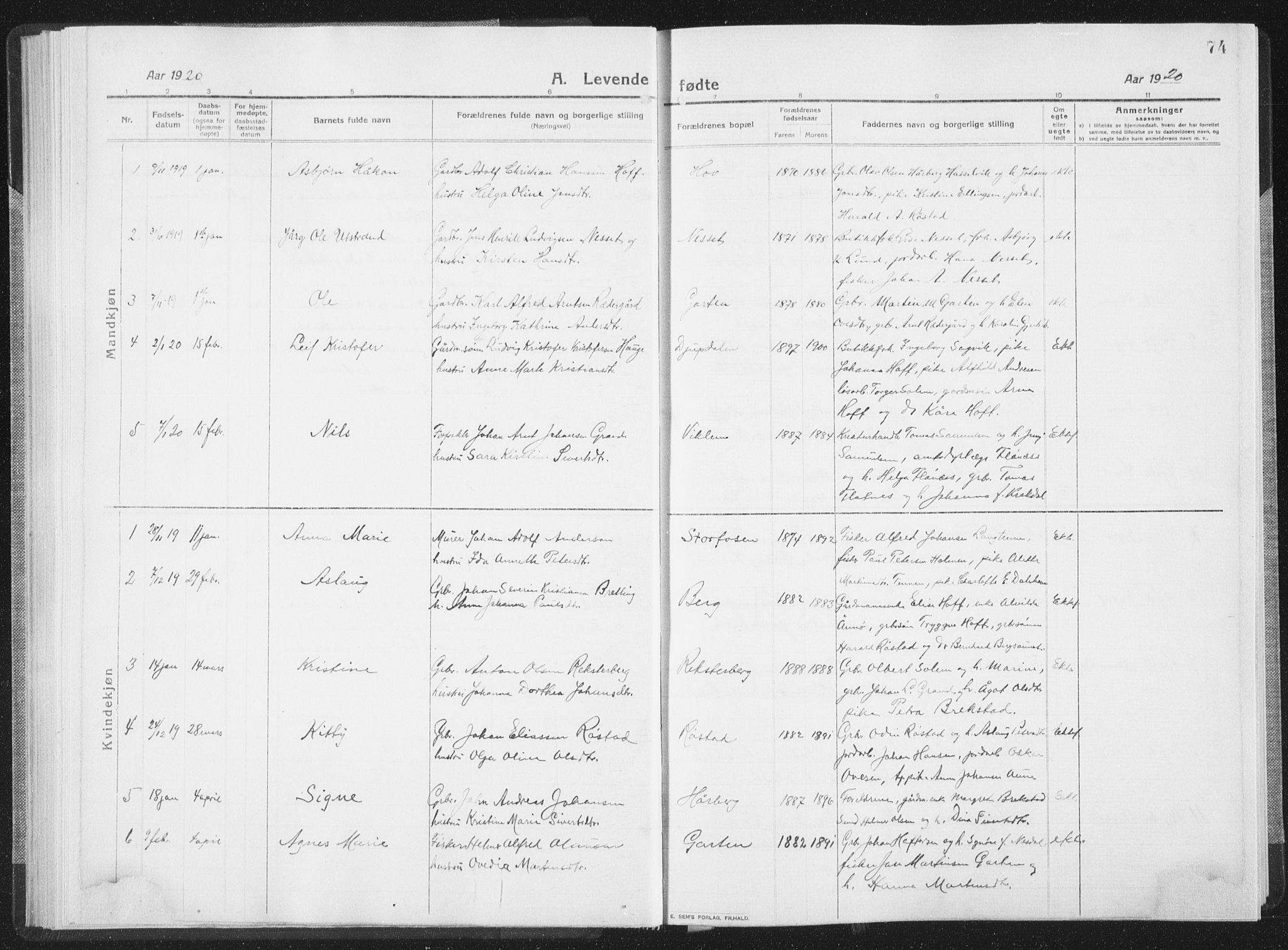 SAT, Ministerialprotokoller, klokkerbøker og fødselsregistre - Sør-Trøndelag, 659/L0747: Klokkerbok nr. 659C04, 1913-1938, s. 74