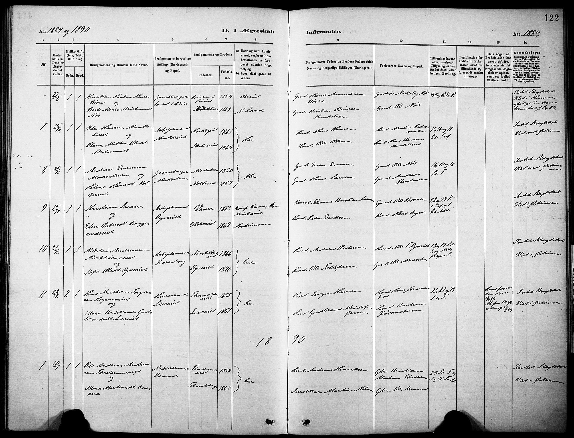 SAH, Nordre Land prestekontor, Ministerialbok nr. 5, 1882-1903, s. 122