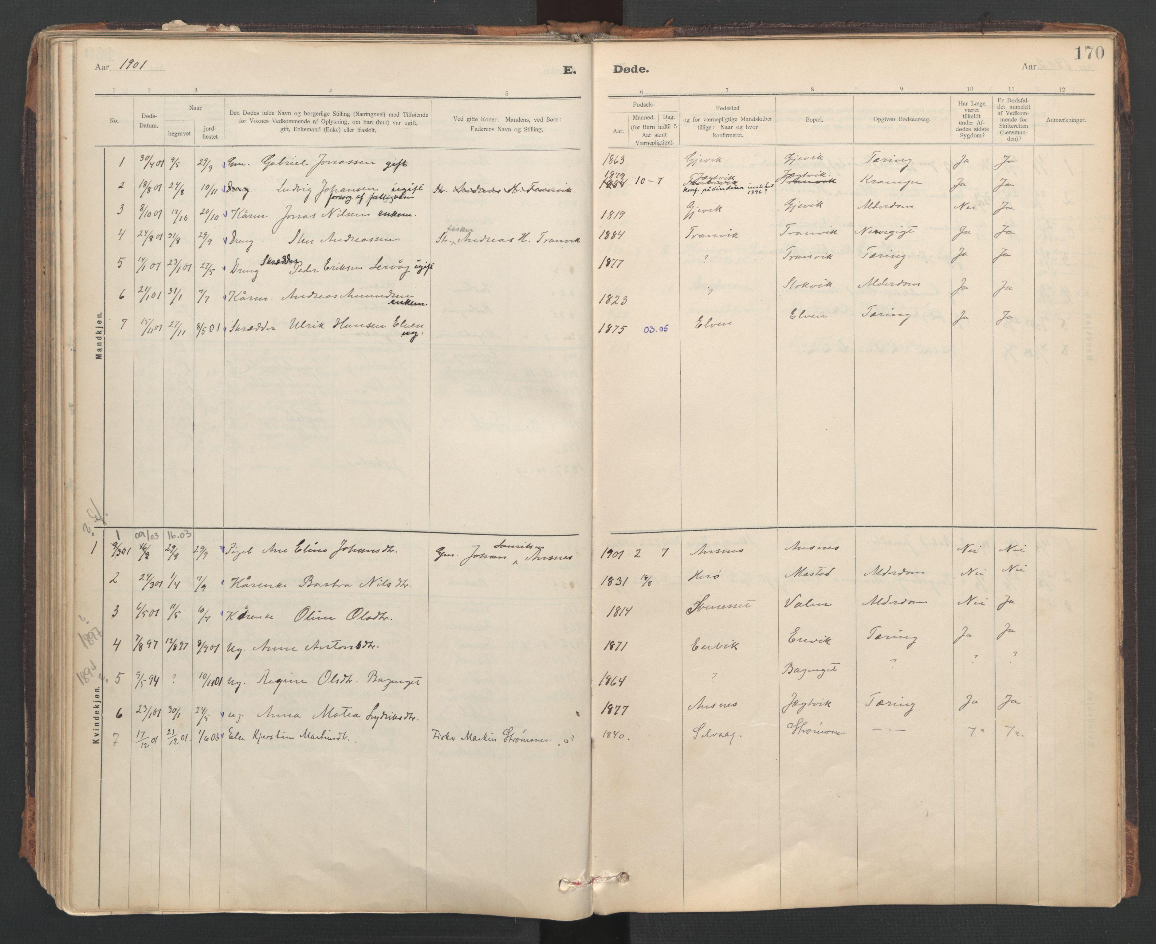 SAT, Ministerialprotokoller, klokkerbøker og fødselsregistre - Sør-Trøndelag, 637/L0559: Ministerialbok nr. 637A02, 1899-1923, s. 170