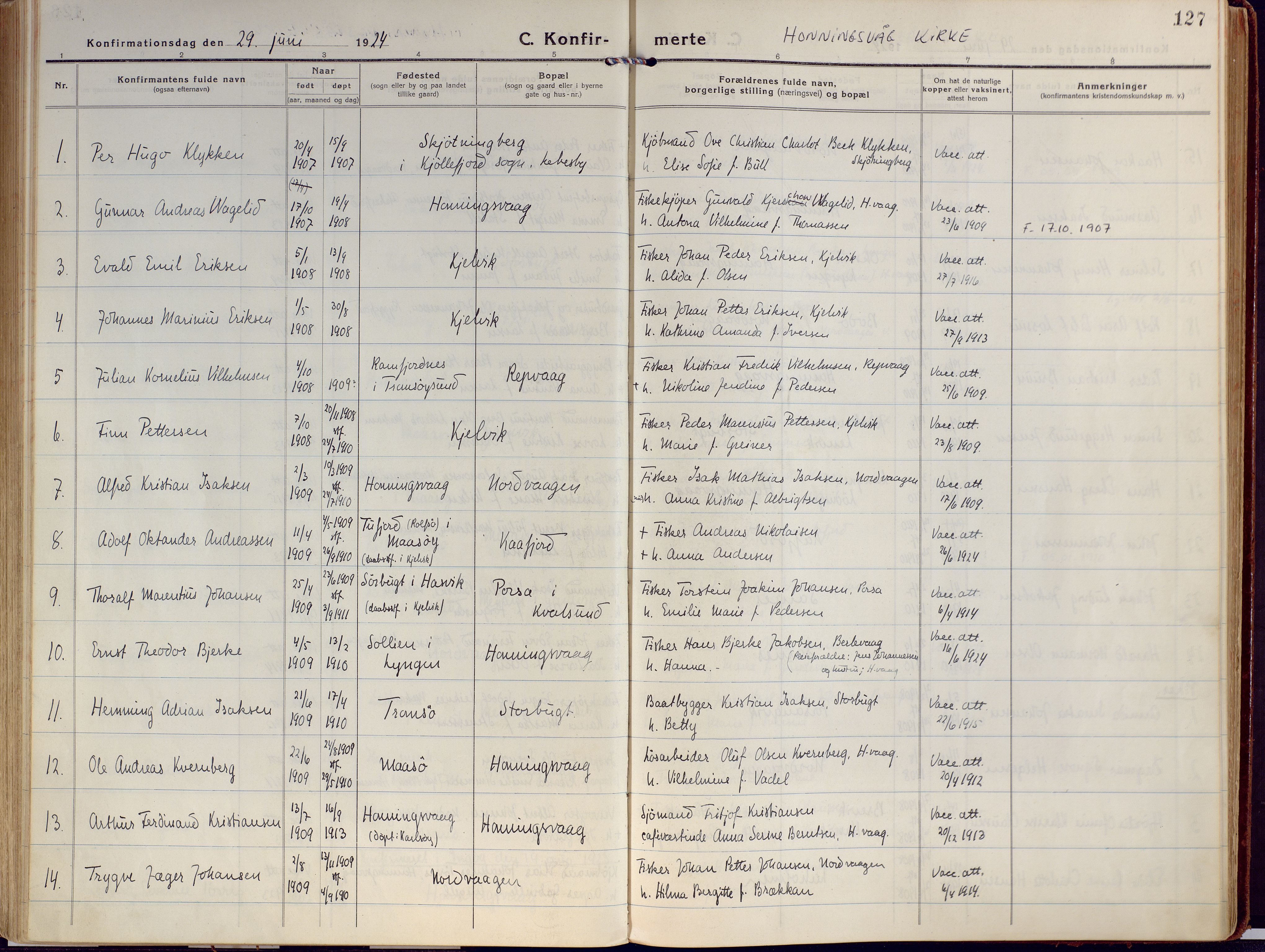 SATØ, Kjelvik/Nordkapp sokneprestkontor, H/Ha/L0002kirke: Ministerialbok nr. 2, 1920-1929, s. 127