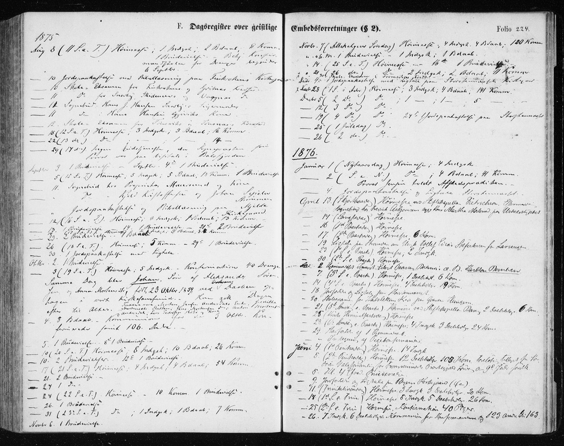 SATØ, Tromsøysund sokneprestkontor, G/Ga/L0003kirke: Ministerialbok nr. 3, 1875-1880, s. 224