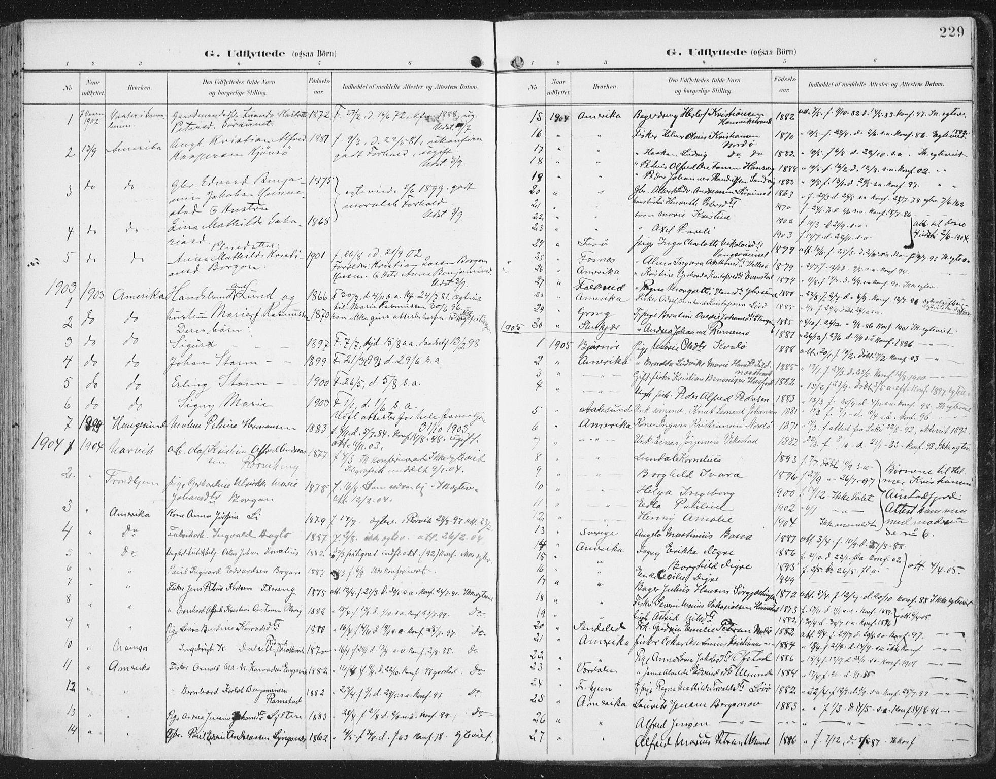 SAT, Ministerialprotokoller, klokkerbøker og fødselsregistre - Nord-Trøndelag, 786/L0688: Ministerialbok nr. 786A04, 1899-1912, s. 229