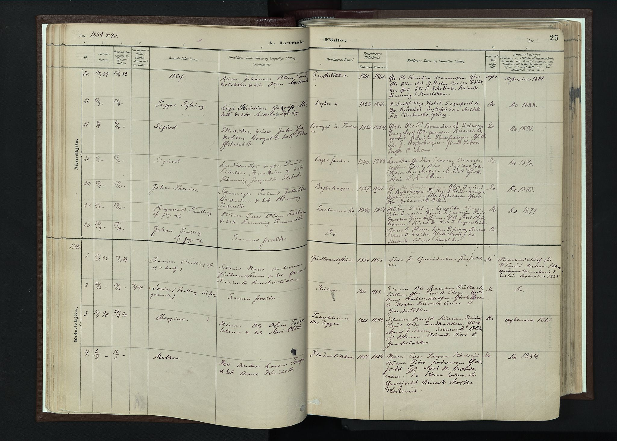 SAH, Nord-Fron prestekontor, Ministerialbok nr. 4, 1884-1914, s. 25