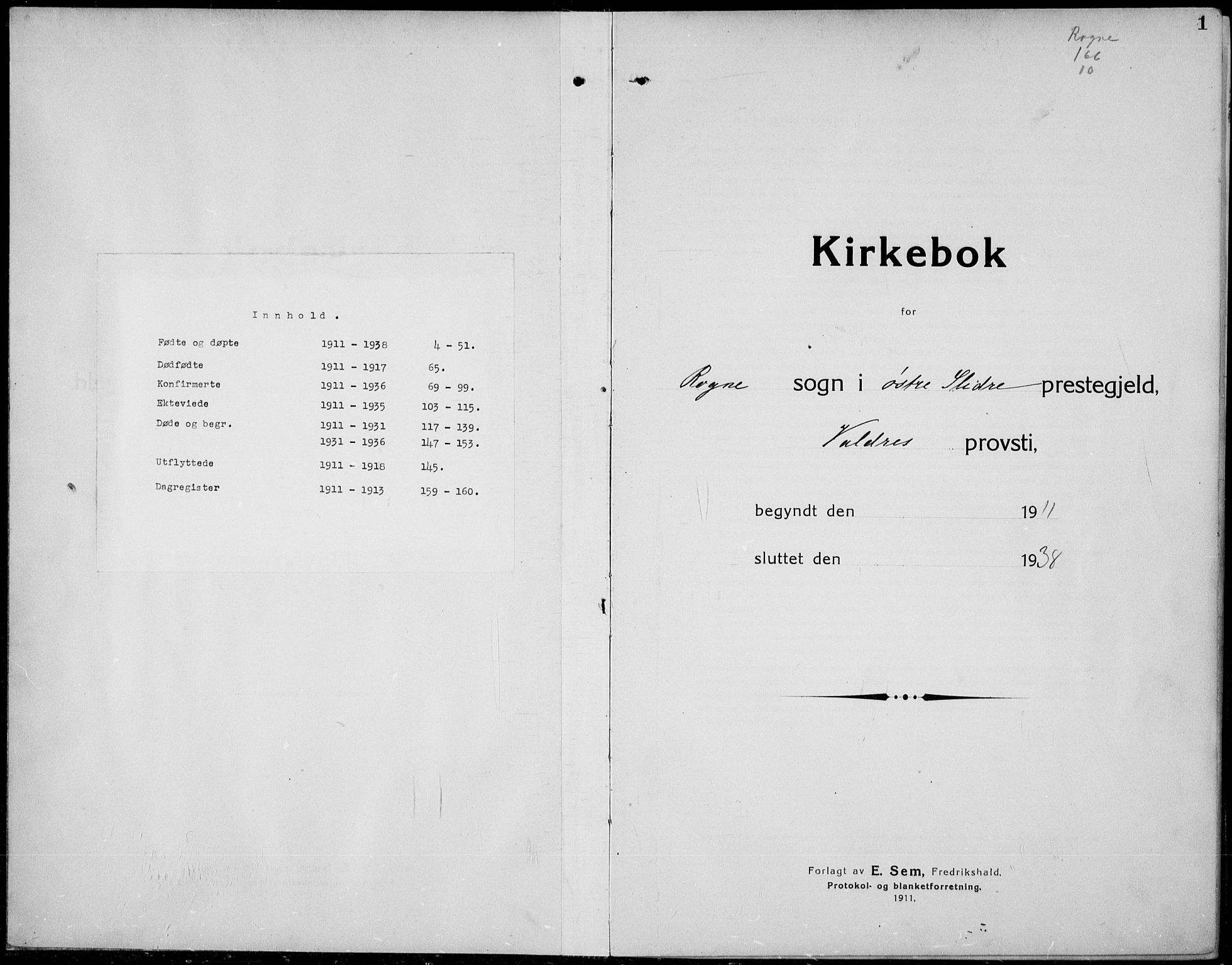 SAH, Øystre Slidre prestekontor, Klokkerbok nr. 8, 1911-1938, s. 1