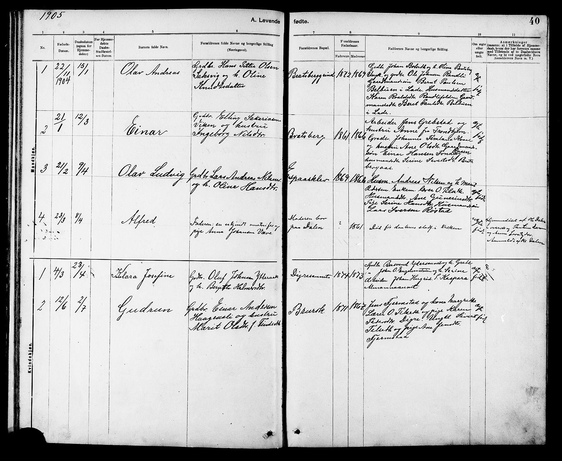 SAT, Ministerialprotokoller, klokkerbøker og fødselsregistre - Sør-Trøndelag, 608/L0341: Klokkerbok nr. 608C07, 1890-1912, s. 40