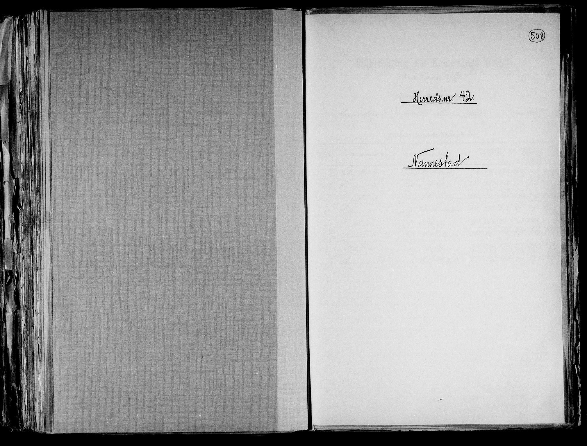 RA, Folketelling 1891 for 0238 Nannestad herred, 1891, s. 1
