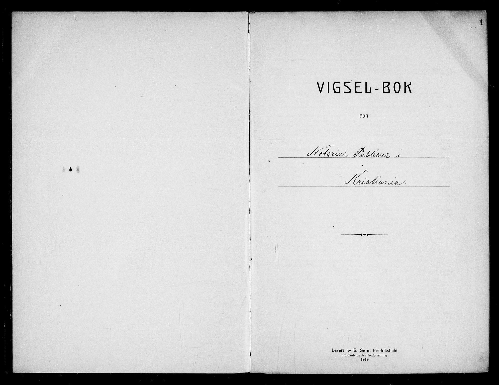 SAO, Oslo byfogd avd. I, L/Lb/Lbb/L0017: Notarialprotokoll, rekke II: Vigsler, 1924-1926, s. 1a