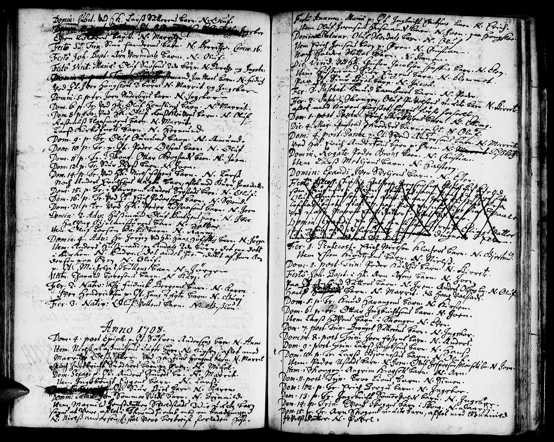 SAT, Ministerialprotokoller, klokkerbøker og fødselsregistre - Sør-Trøndelag, 668/L0801: Ministerialbok nr. 668A01, 1695-1716, s. 286-287