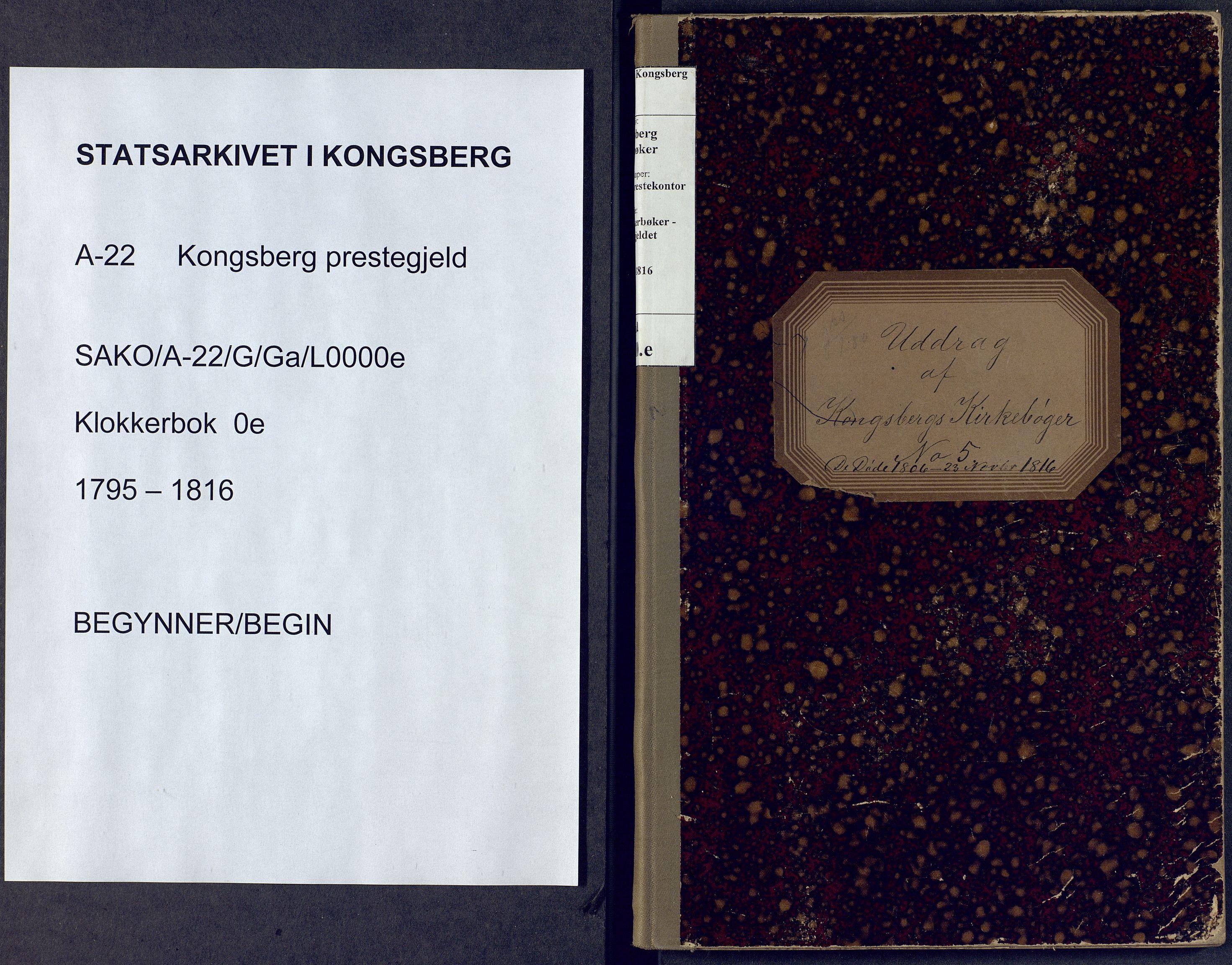 SAKO, Kongsberg kirkebøker, G/Ga/L0000e: Klokkerbok nr. 0e, 1795-1816