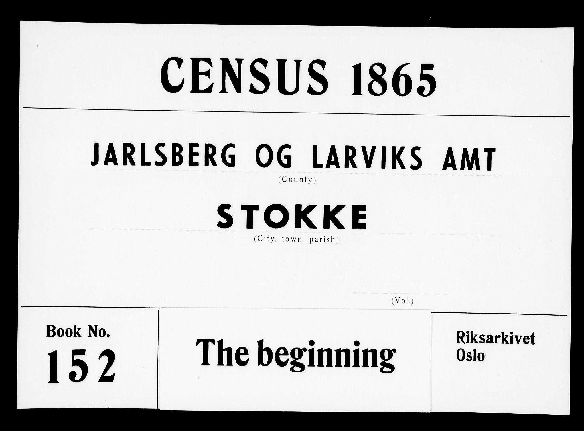RA, Folketelling 1865 for 0720P Stokke prestegjeld, 1865, s. 1