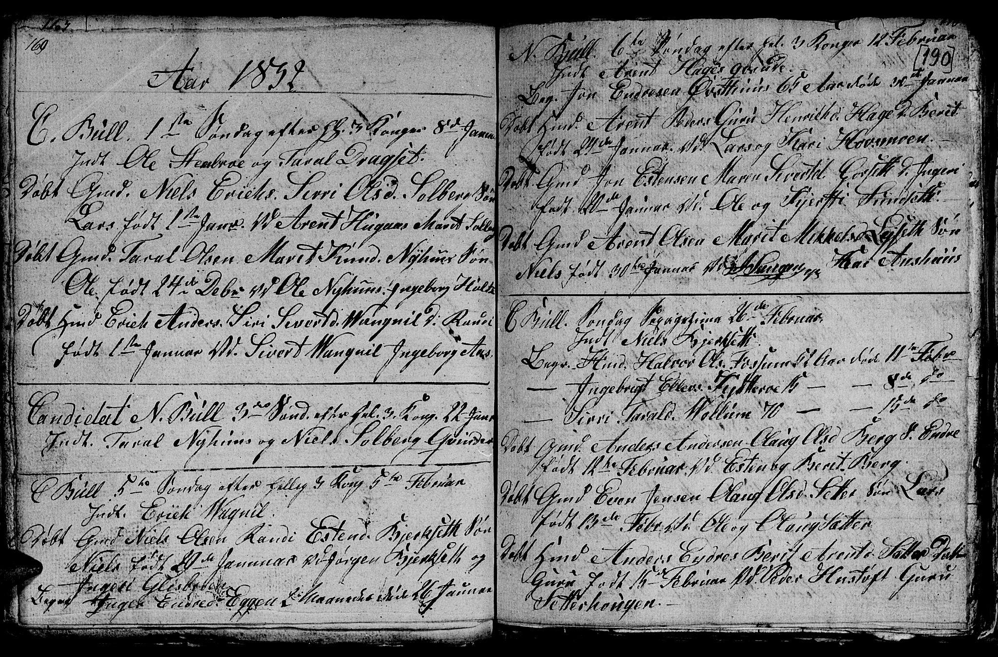 SAT, Ministerialprotokoller, klokkerbøker og fødselsregistre - Sør-Trøndelag, 689/L1042: Klokkerbok nr. 689C01, 1812-1841, s. 189-190