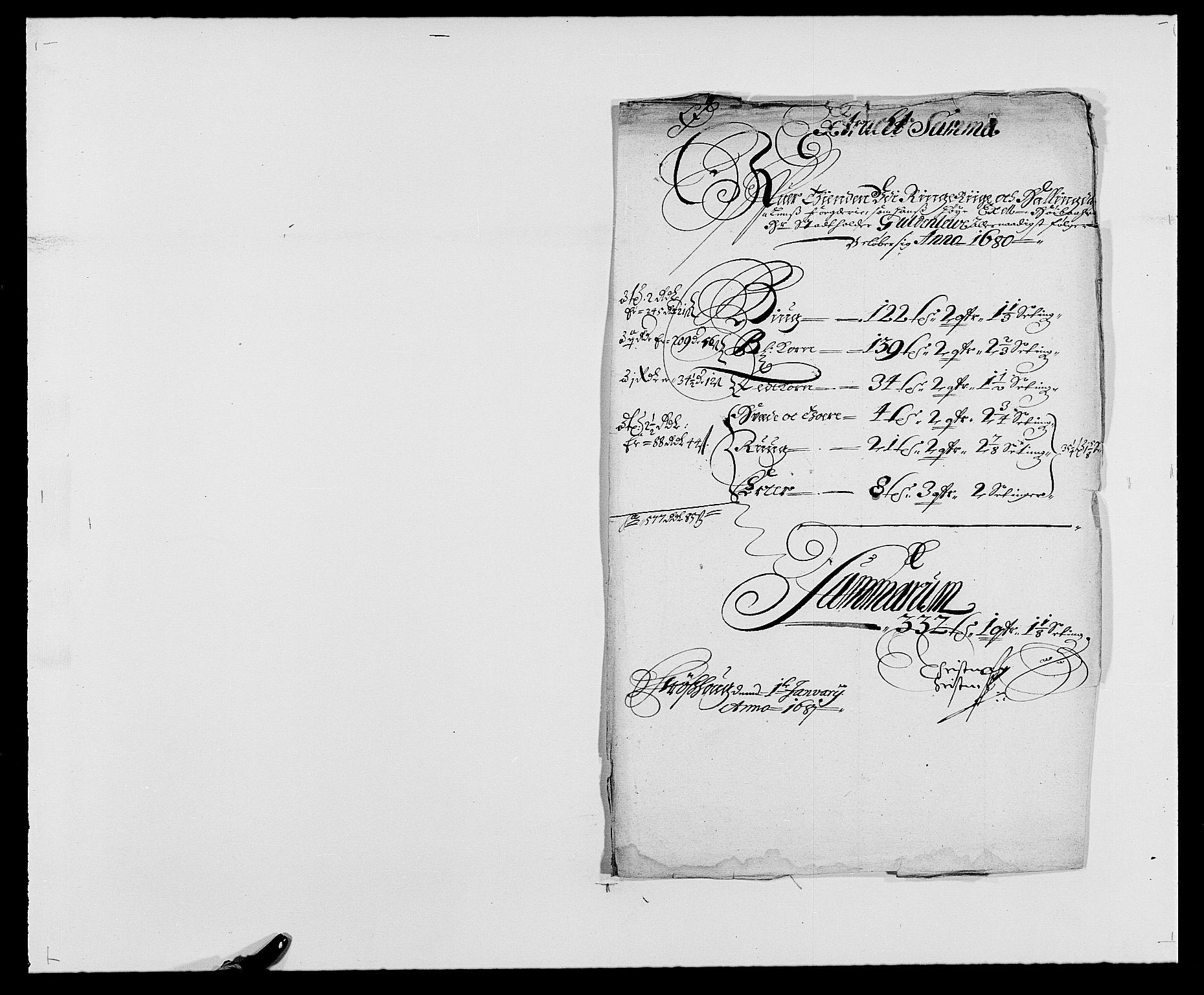 RA, Rentekammeret inntil 1814, Reviderte regnskaper, Fogderegnskap, R21/L1444: Fogderegnskap Ringerike og Hallingdal, 1680-1681, s. 33