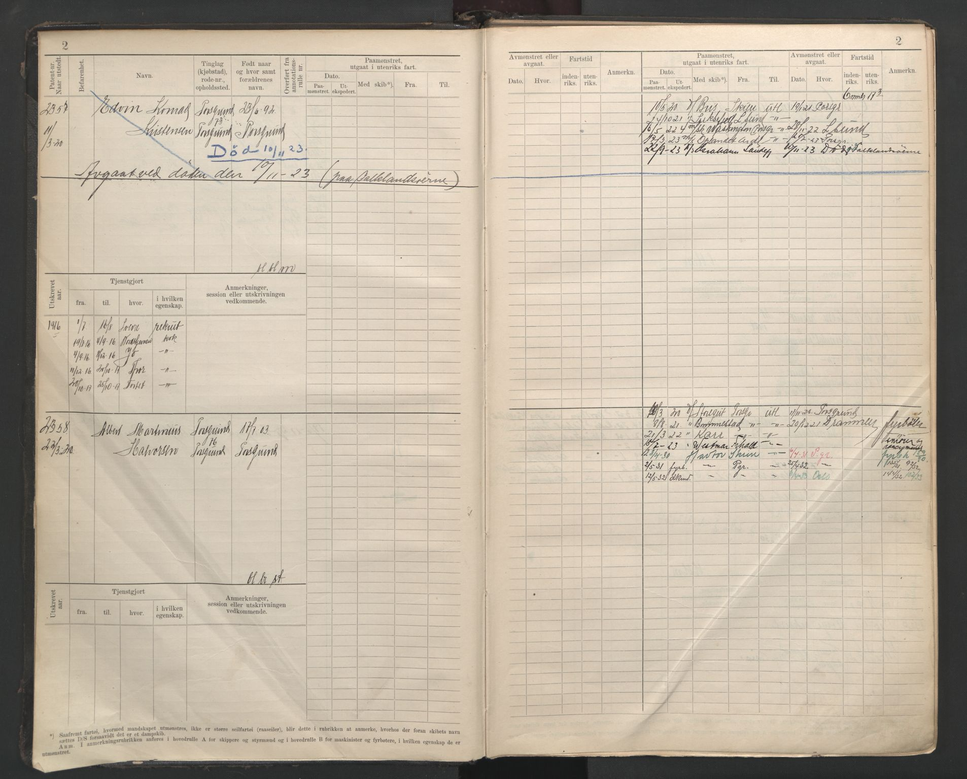 SAKO, Porsgrunn innrulleringskontor, F/Fb/L0007: Annotasjonsrulle, 1926-1948, s. 2