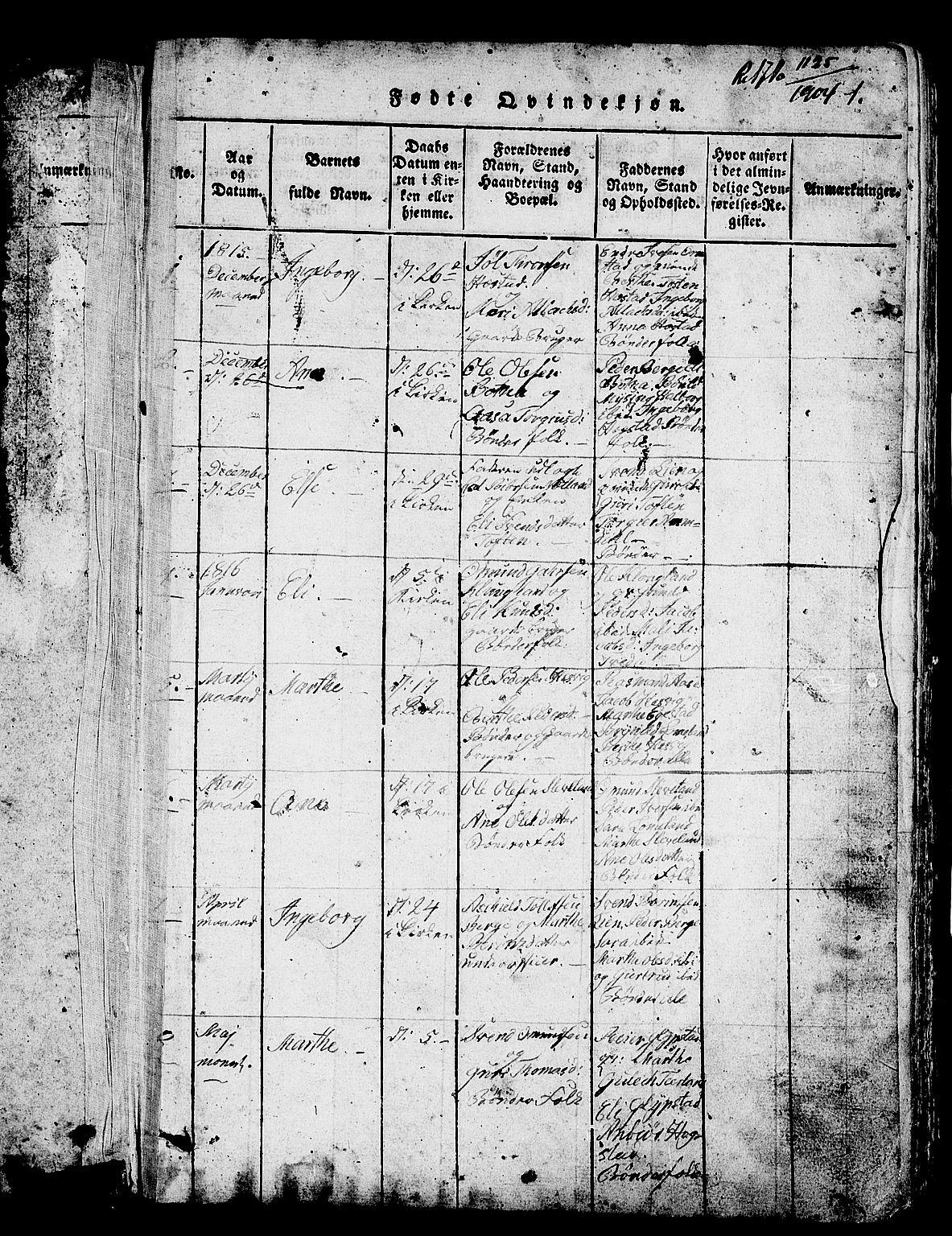 SAST, Helleland sokneprestkontor, Klokkerbok nr. B 1, 1815-1841, s. 1
