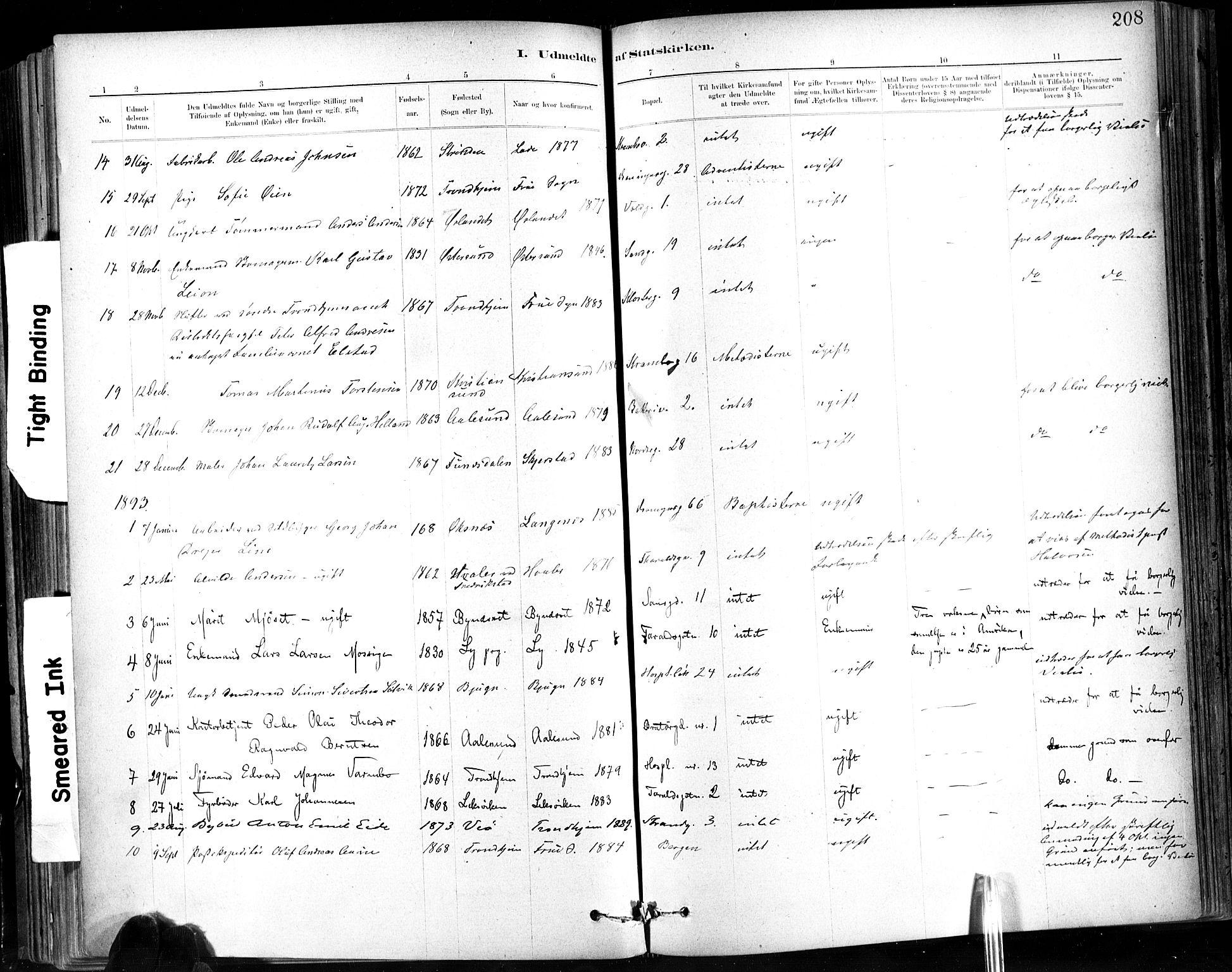 SAT, Ministerialprotokoller, klokkerbøker og fødselsregistre - Sør-Trøndelag, 602/L0120: Ministerialbok nr. 602A18, 1880-1913, s. 208