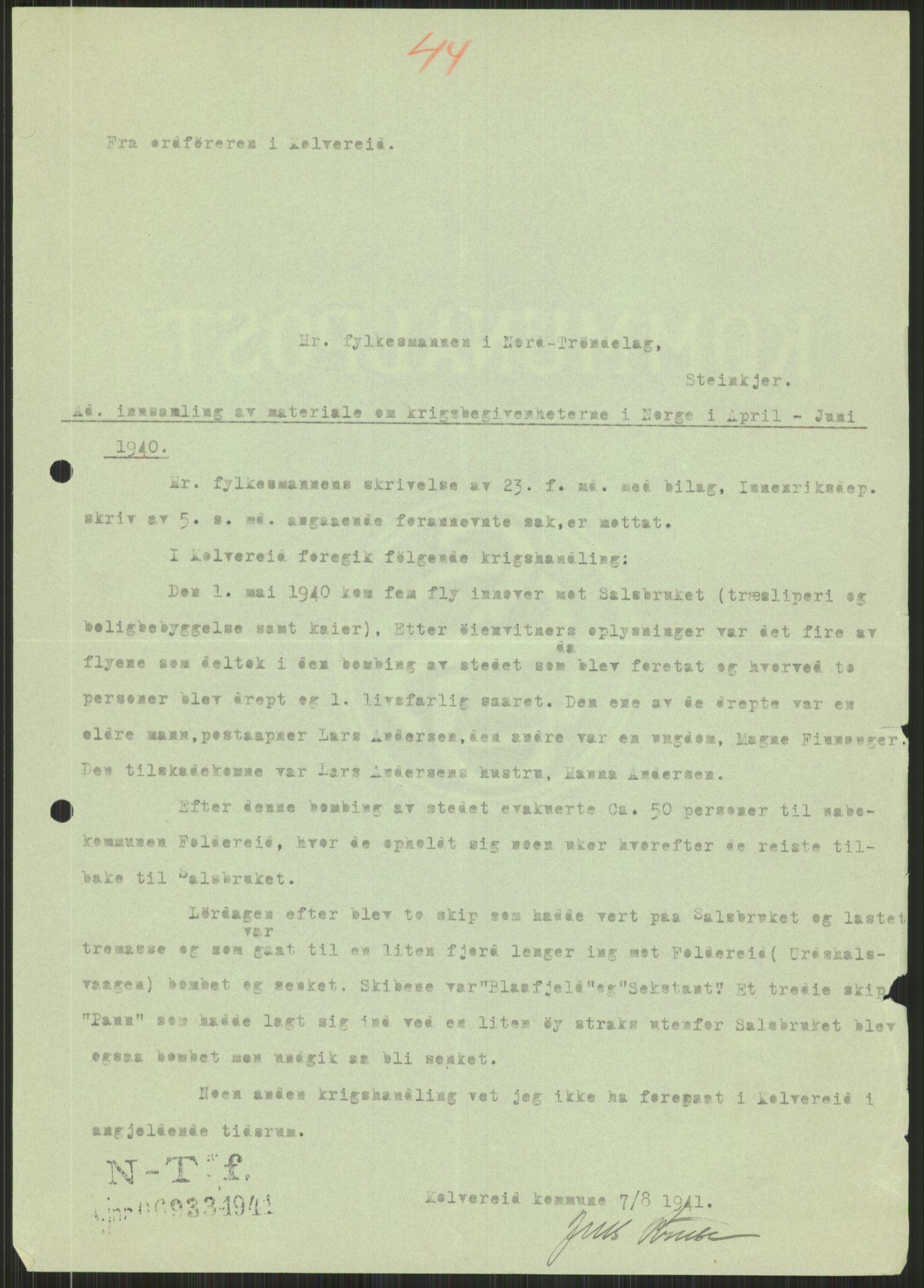 RA, Forsvaret, Forsvarets krigshistoriske avdeling, Y/Ya/L0016: II-C-11-31 - Fylkesmenn.  Rapporter om krigsbegivenhetene 1940., 1940, s. 488