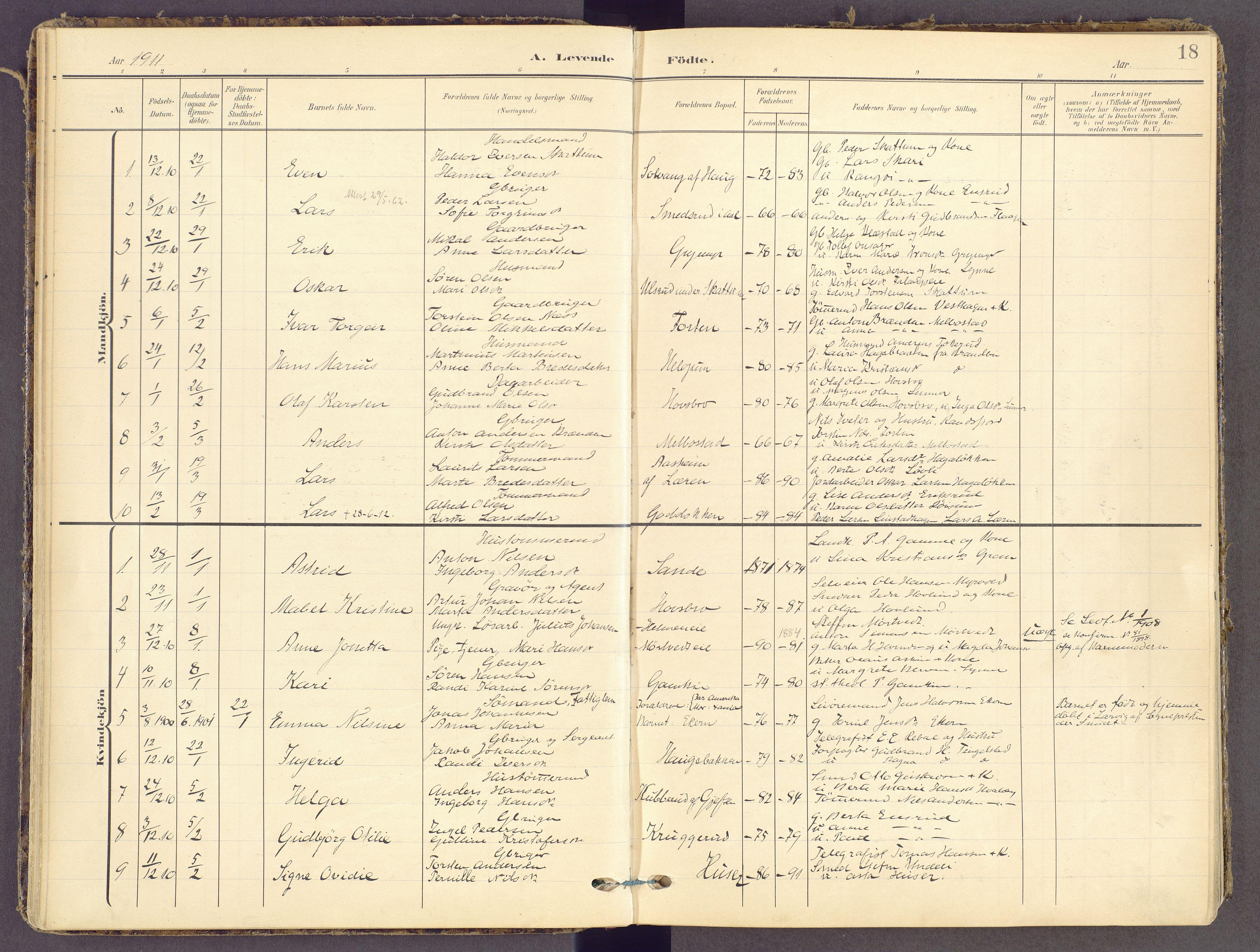 SAH, Gran prestekontor, Ministerialbok nr. 21, 1908-1932, s. 18