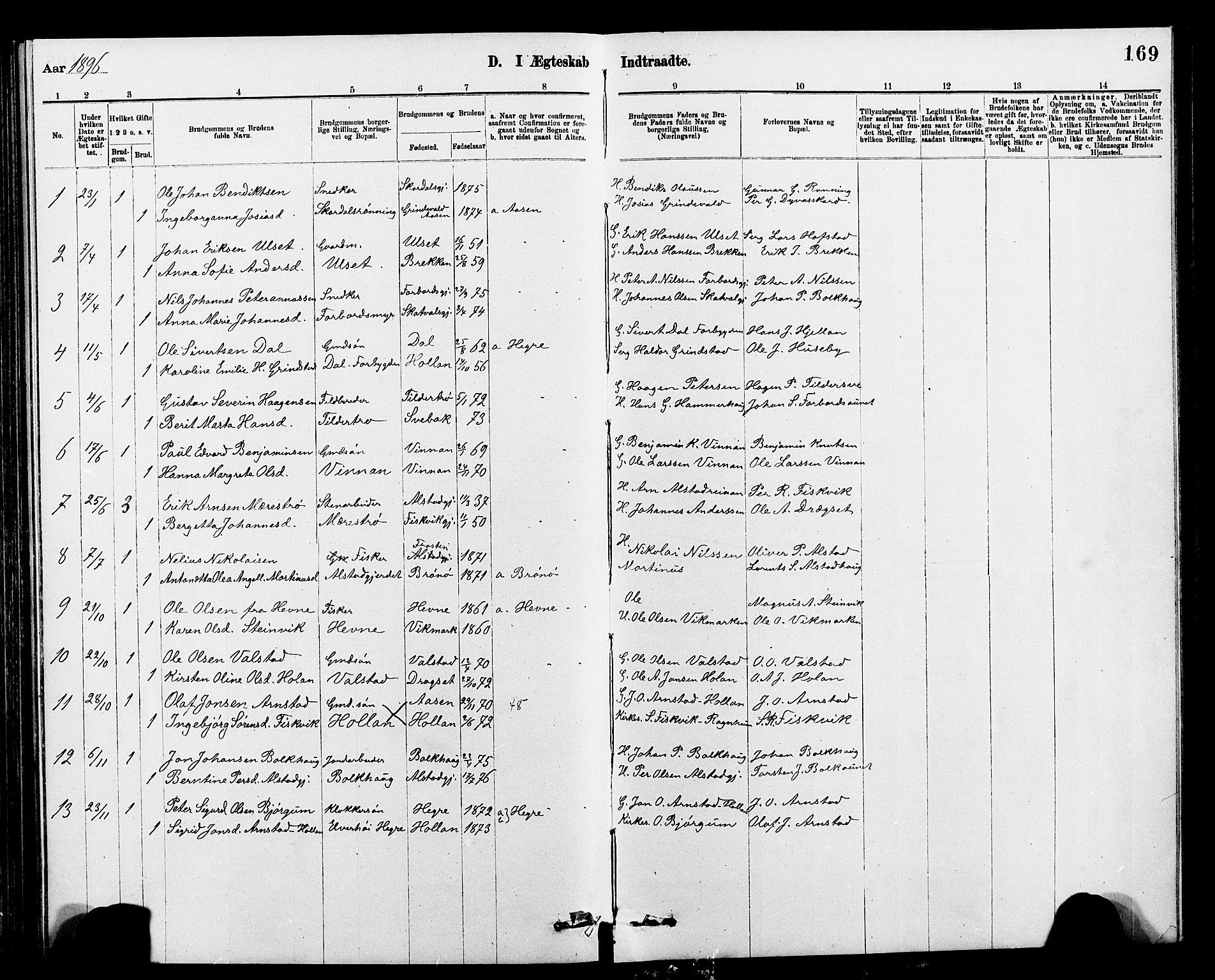 SAT, Ministerialprotokoller, klokkerbøker og fødselsregistre - Nord-Trøndelag, 712/L0103: Klokkerbok nr. 712C01, 1878-1917, s. 169