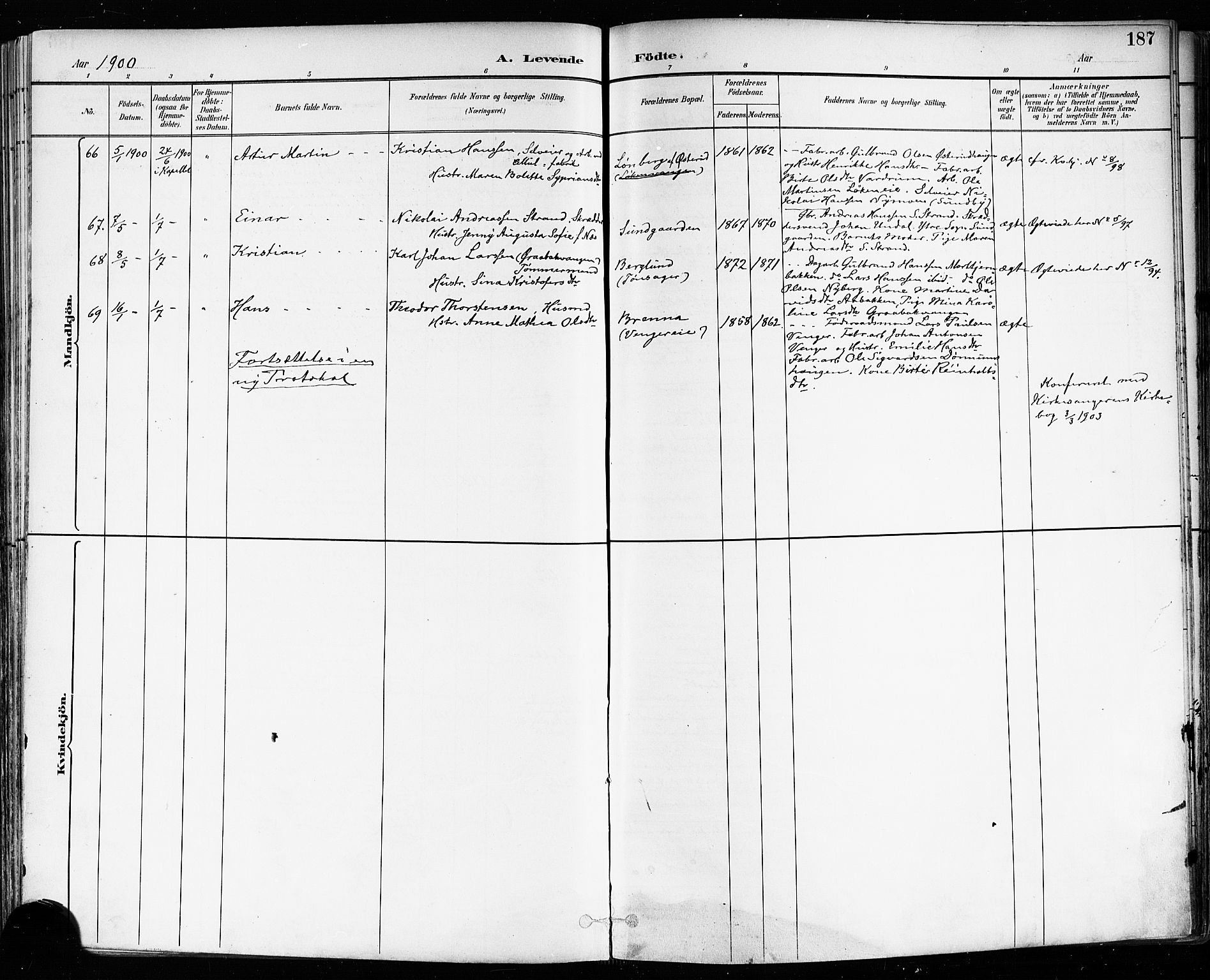 SAO, Eidsvoll prestekontor Kirkebøker, F/Fa/L0004: Ministerialbok nr. I 4, 1891-1900, s. 187