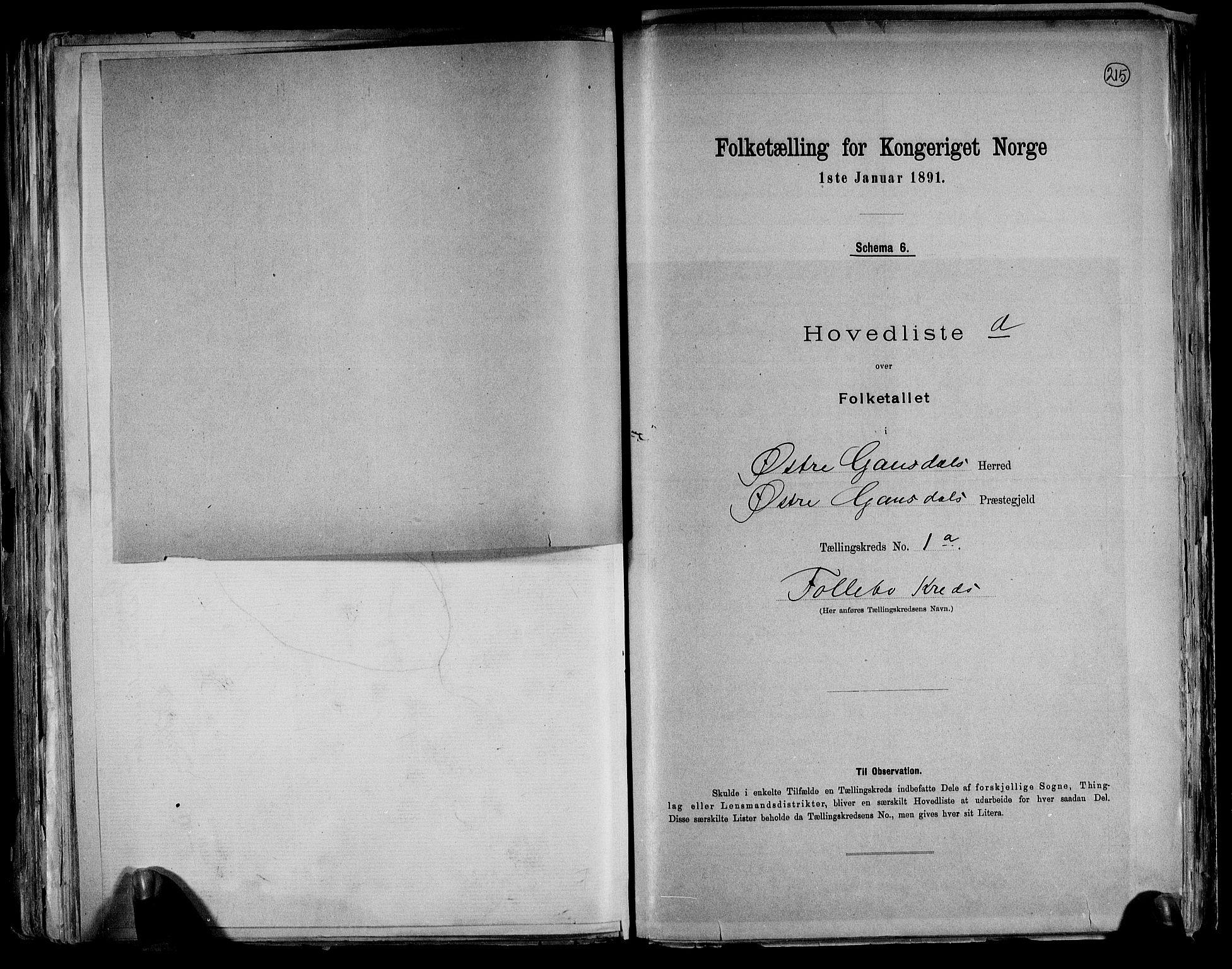 RA, Folketelling 1891 for 0522 Østre Gausdal herred, 1891, s. 6