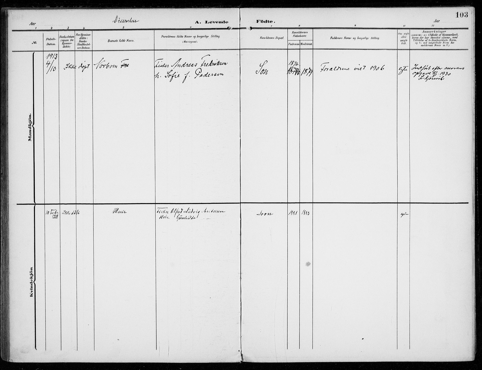 SAO, Vestby prestekontor Kirkebøker, F/Fc/L0002: Ministerialbok nr. III 2, 1906-1940, s. 103