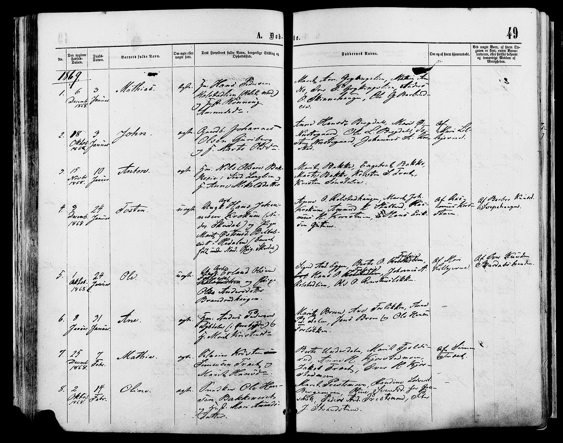 SAH, Sør-Fron prestekontor, H/Ha/Haa/L0002: Ministerialbok nr. 2, 1864-1880, s. 49