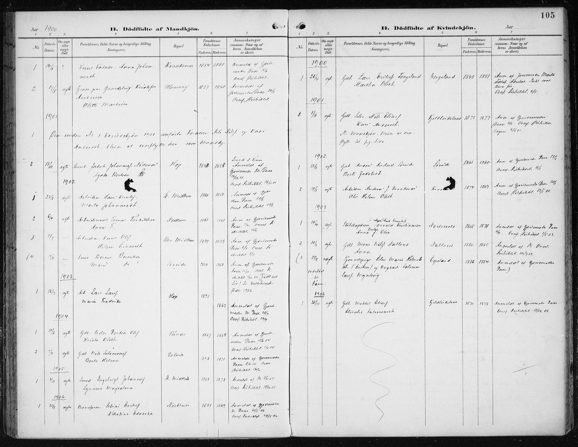 SAB, Fana Sokneprestembete, H/Haa/Haai/L0003: Ministerialbok nr. I 3, 1900-1912, s. 105