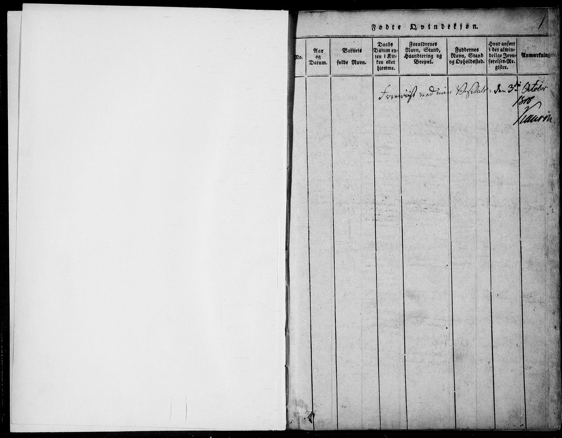 SAKO, Vinje kirkebøker, F/Fb/L0001: Ministerialbok nr. II 1, 1814-1843, s. 1