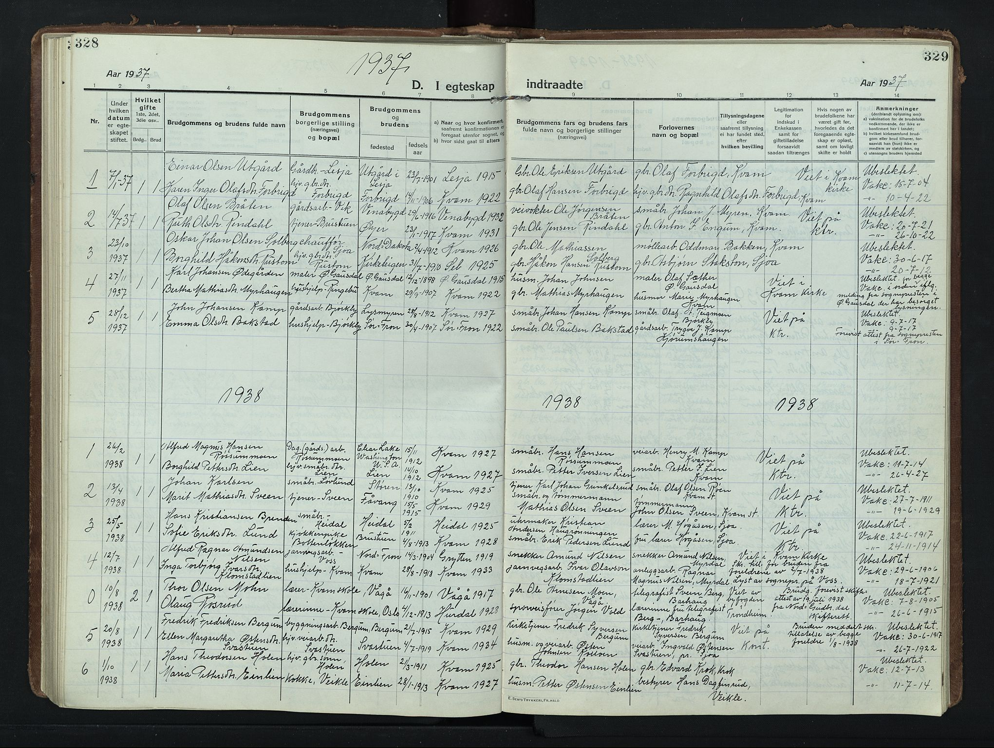SAH, Nord-Fron prestekontor, Klokkerbok nr. 8, 1915-1948, s. 328-329