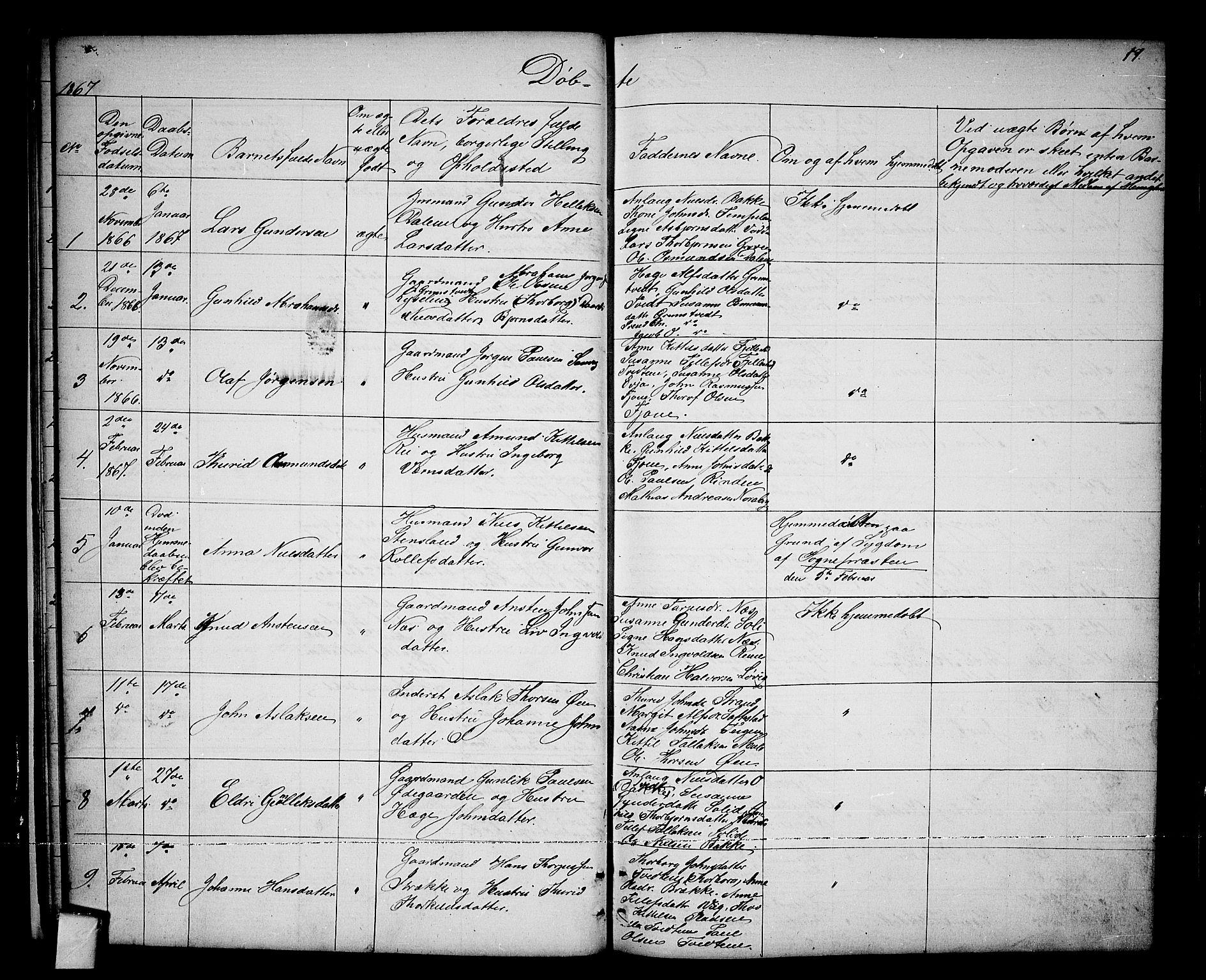 SAKO, Nissedal kirkebøker, G/Ga/L0002: Klokkerbok nr. I 2, 1861-1887, s. 17
