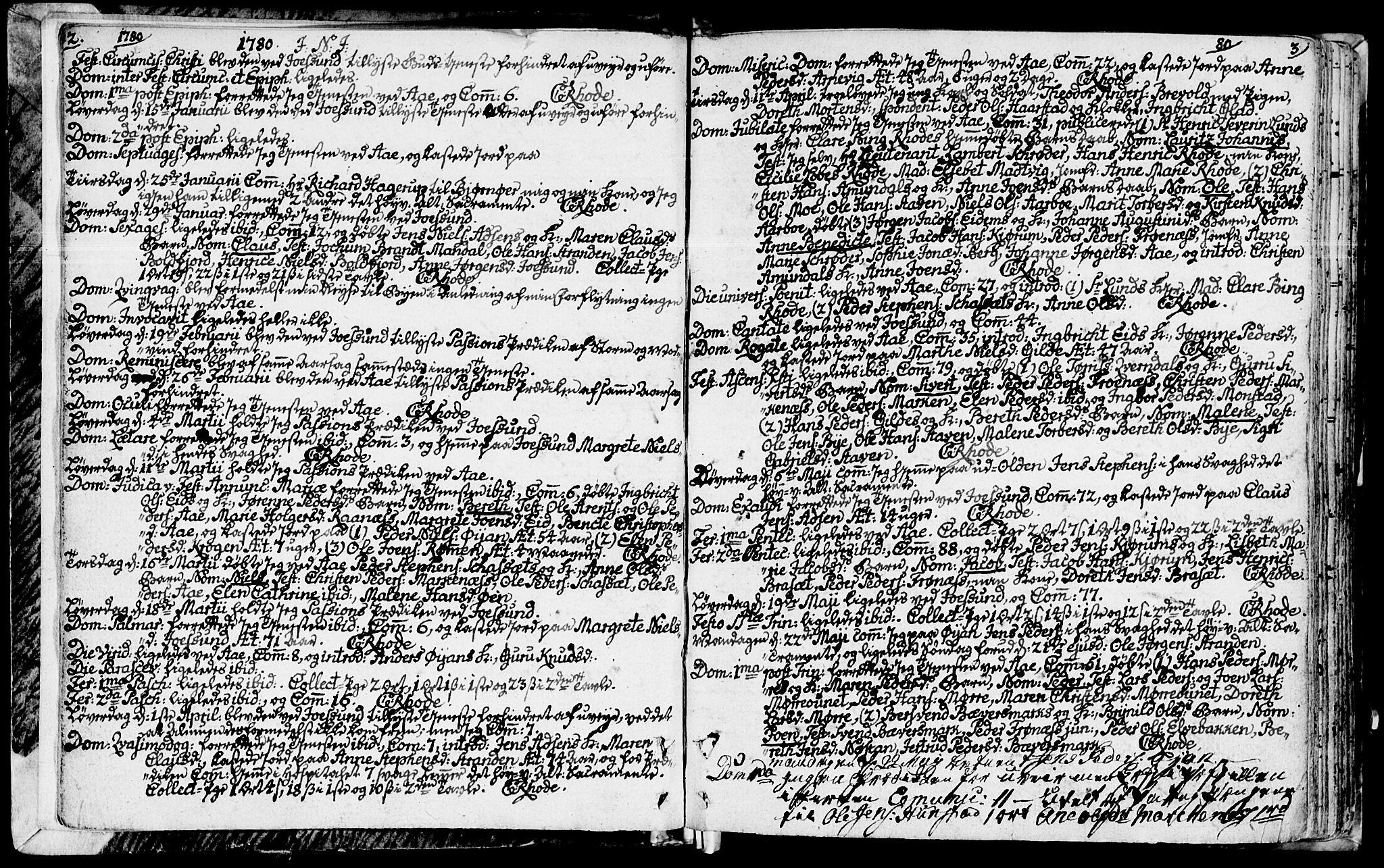 SAT, Ministerialprotokoller, klokkerbøker og fødselsregistre - Sør-Trøndelag, 655/L0673: Ministerialbok nr. 655A02, 1780-1801, s. 2-3