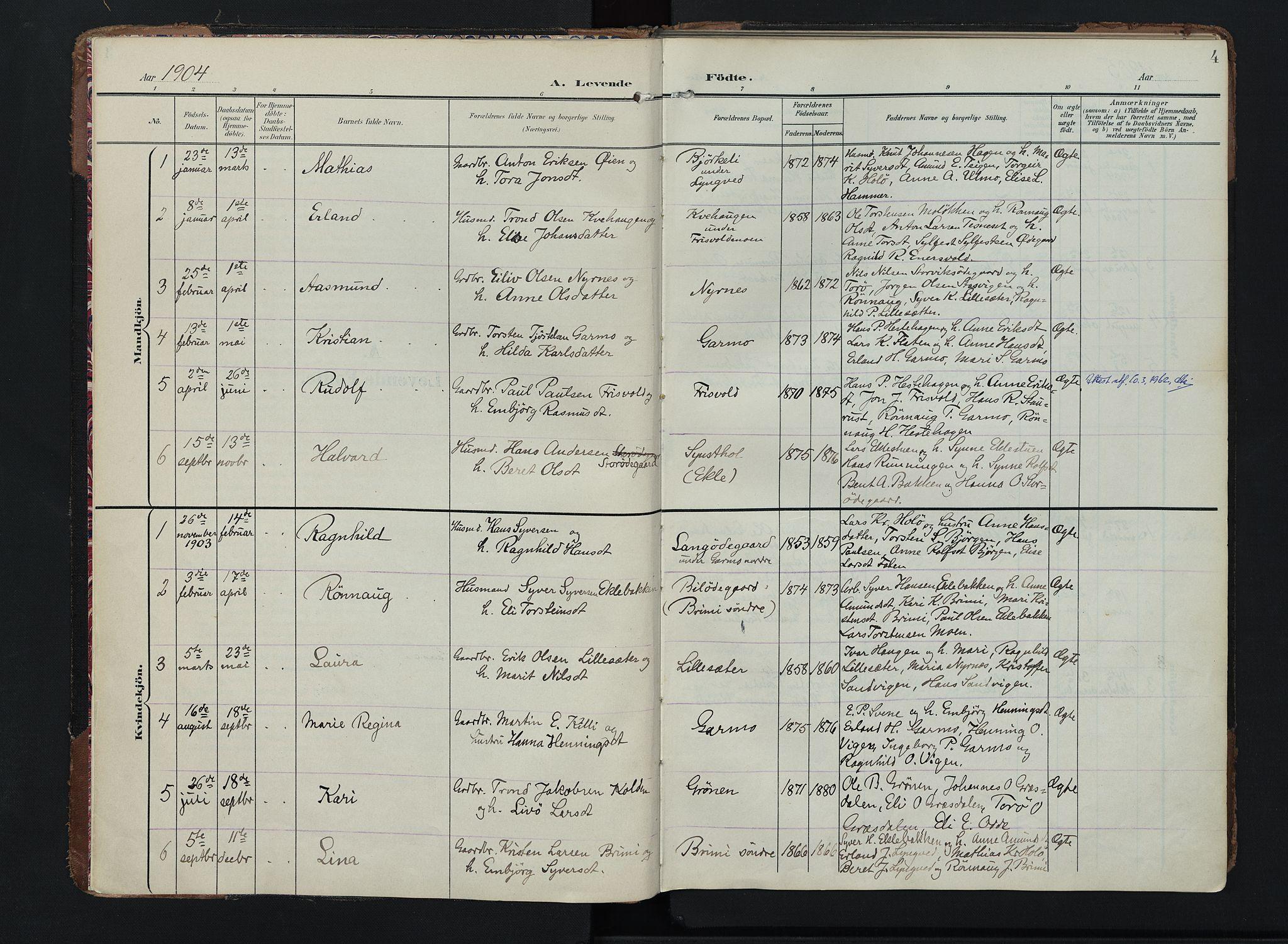 SAH, Lom prestekontor, K/L0011: Ministerialbok nr. 11, 1904-1928, s. 4