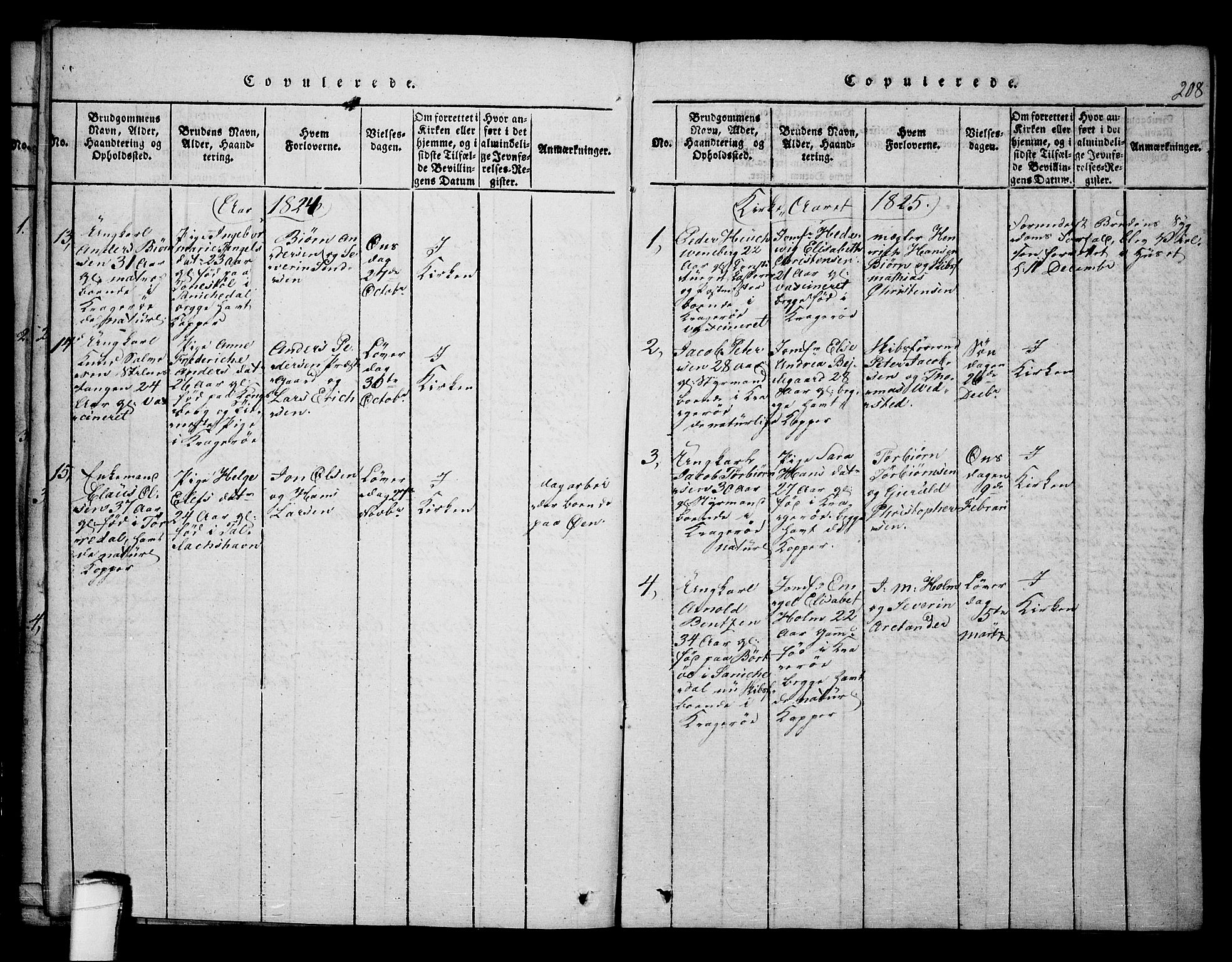 SAKO, Kragerø kirkebøker, F/Fa/L0004: Ministerialbok nr. 4, 1814-1831, s. 208