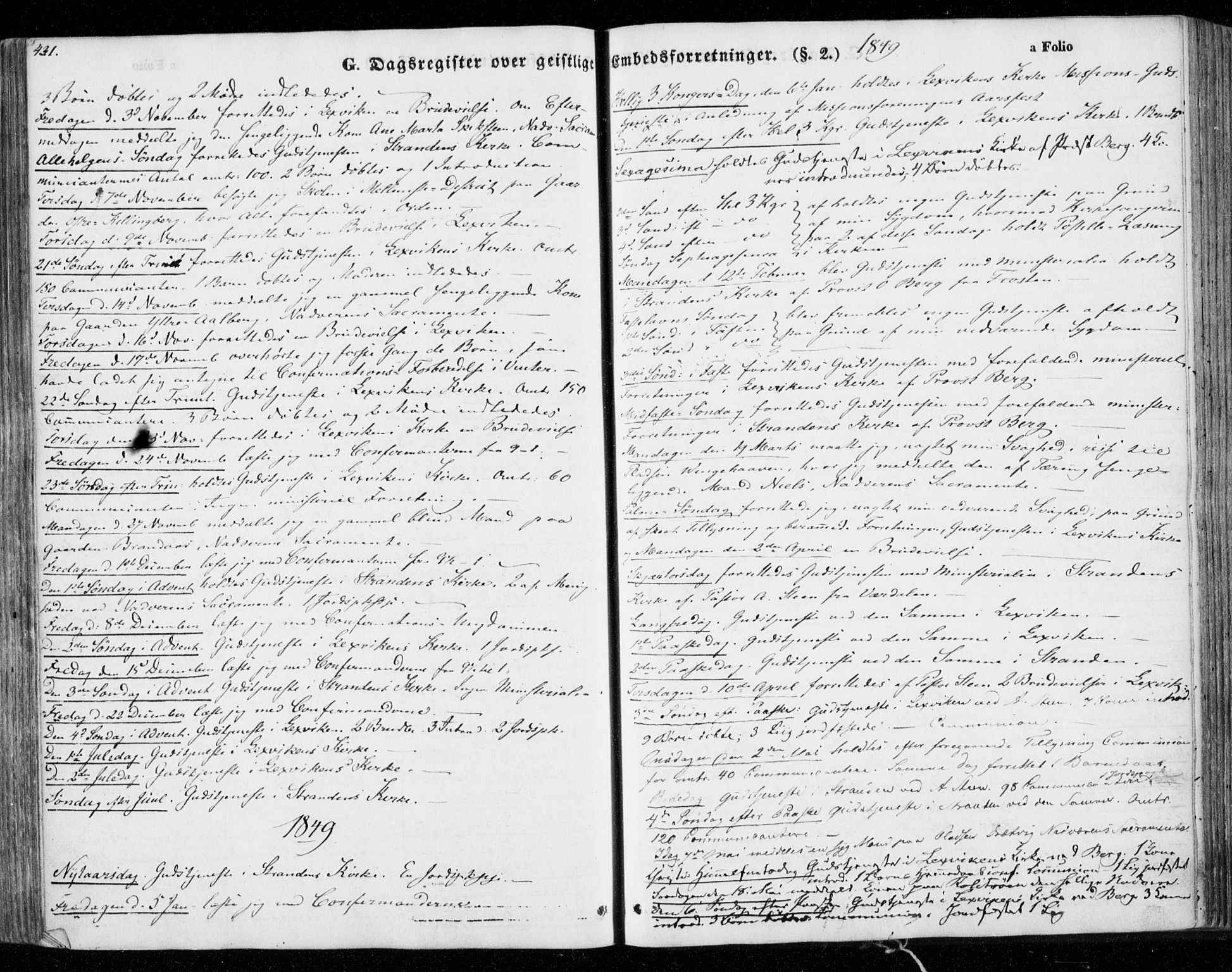 SAT, Ministerialprotokoller, klokkerbøker og fødselsregistre - Nord-Trøndelag, 701/L0007: Ministerialbok nr. 701A07 /1, 1842-1854, s. 431
