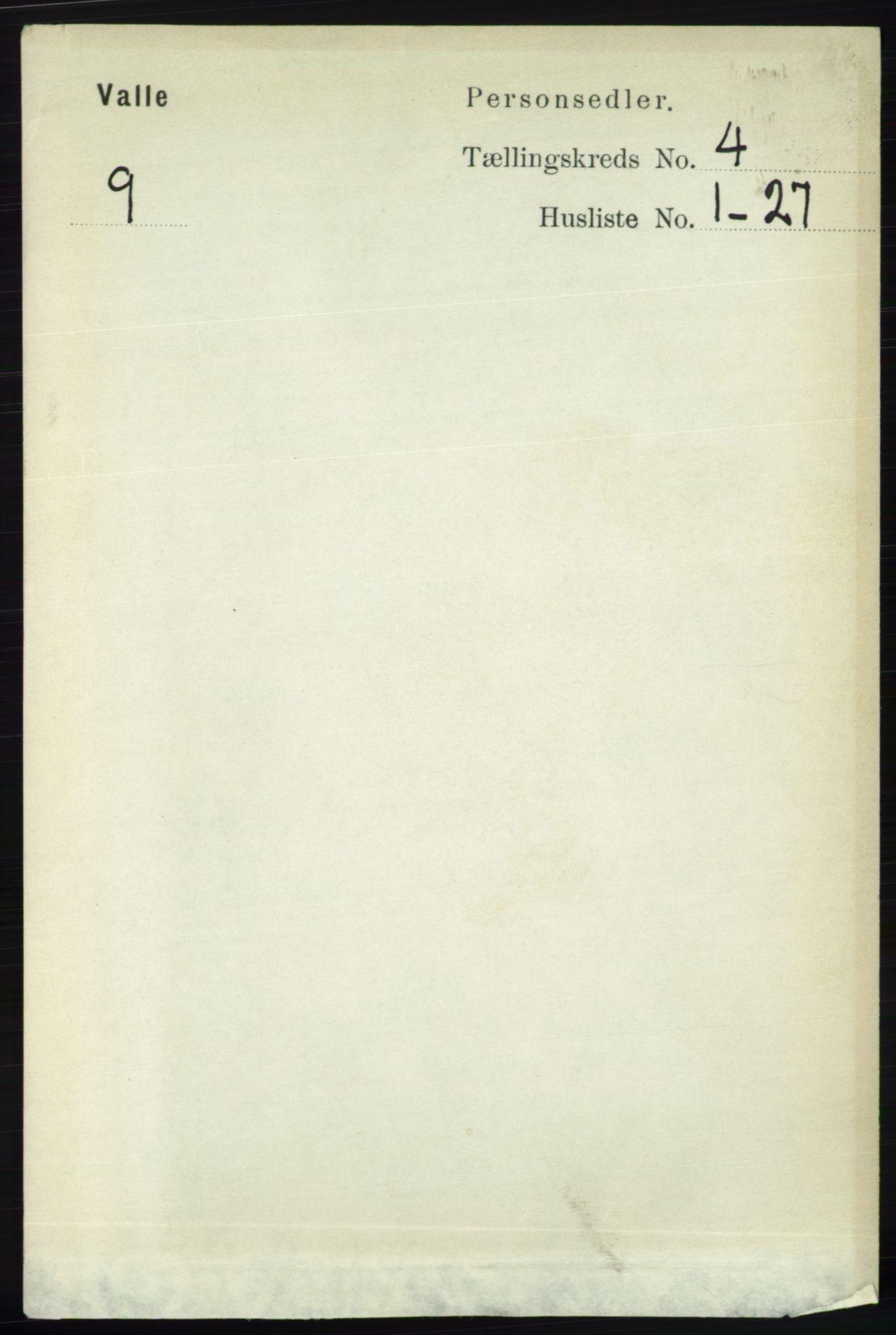 RA, Folketelling 1891 for 0940 Valle herred, 1891, s. 1004